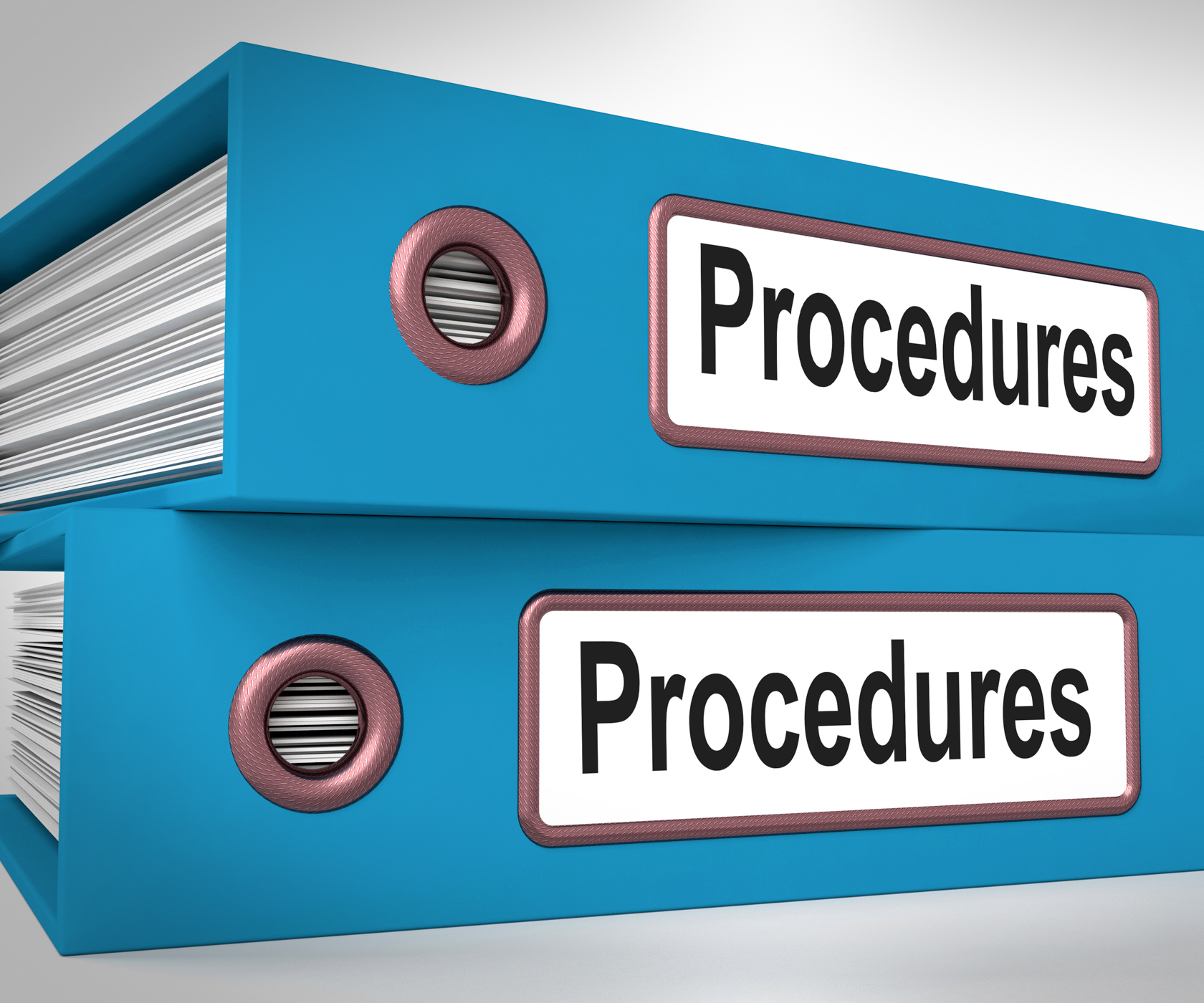 Procedures folders mean correct process and best practice photo
