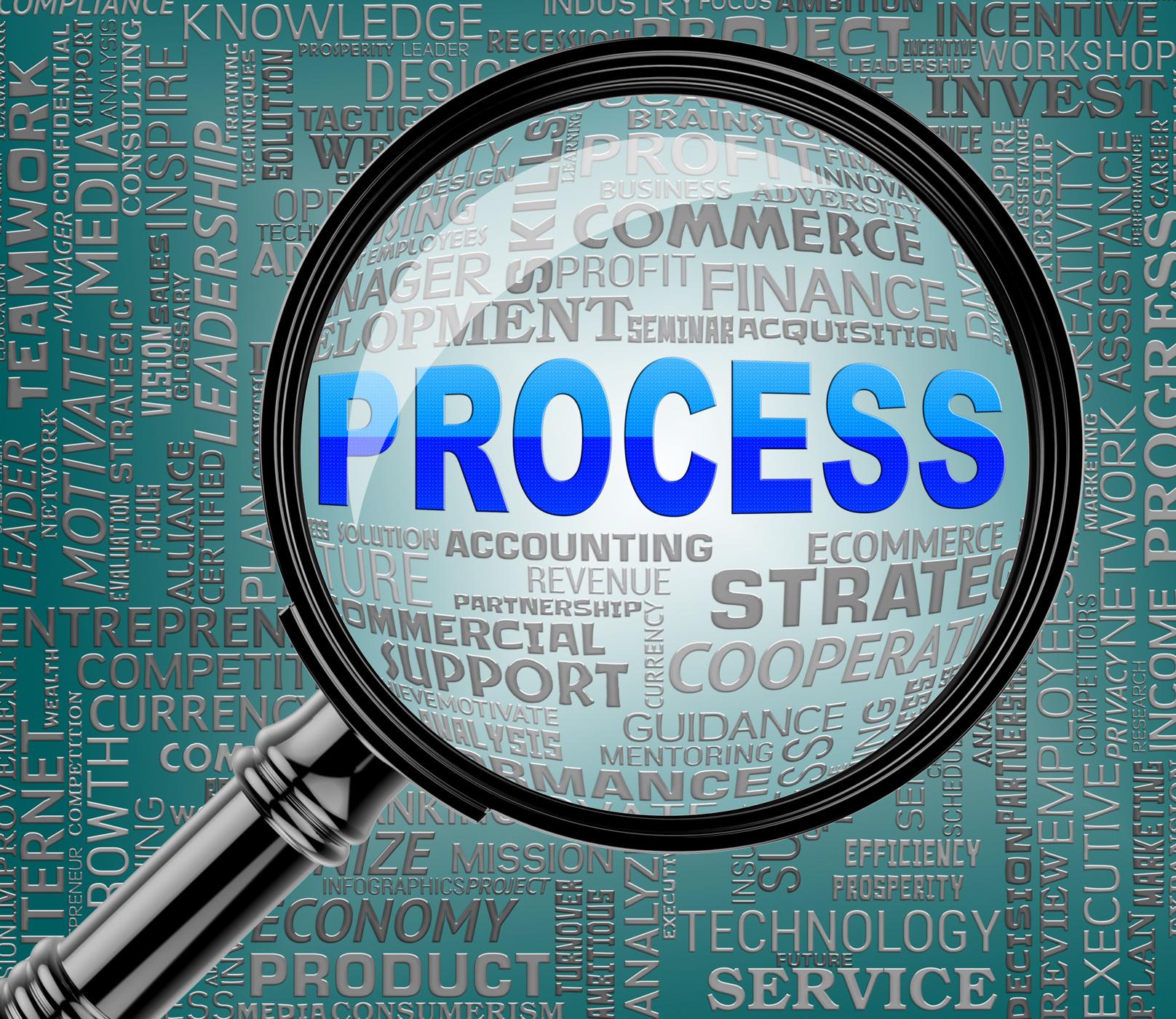 Process magnifier indicates task proceedure 3d rendering photo