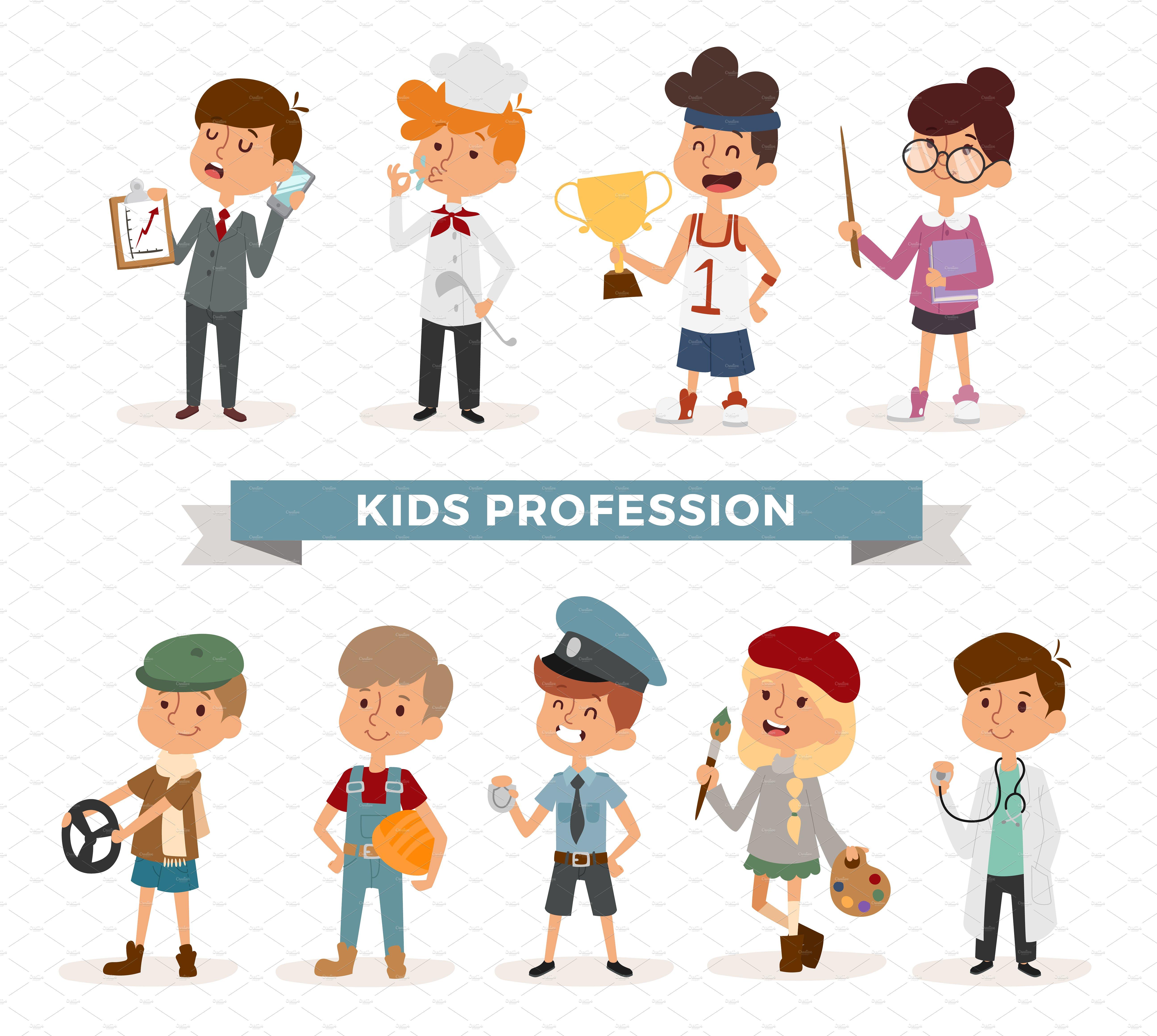 Cute cartoon professions kids vector ~ Illustrations ~ Creative Market