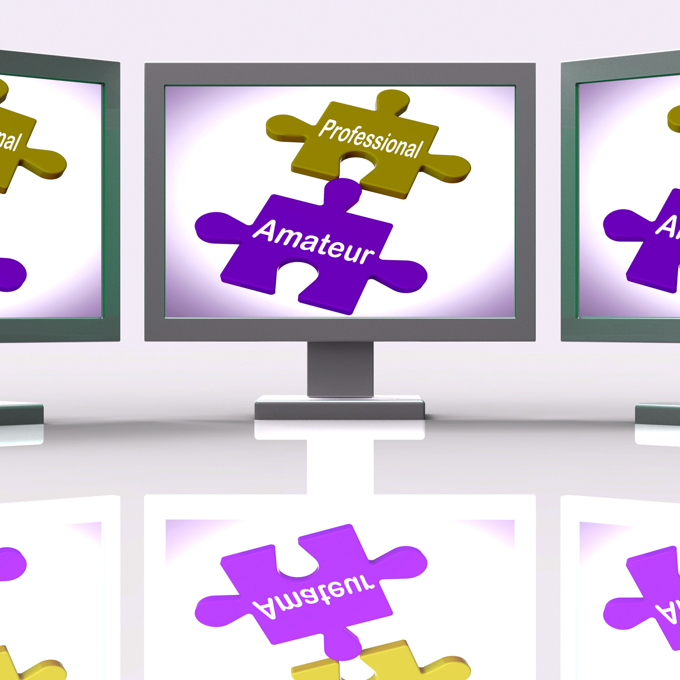 Professional amateur puzzle online shows expert and apprentice photo