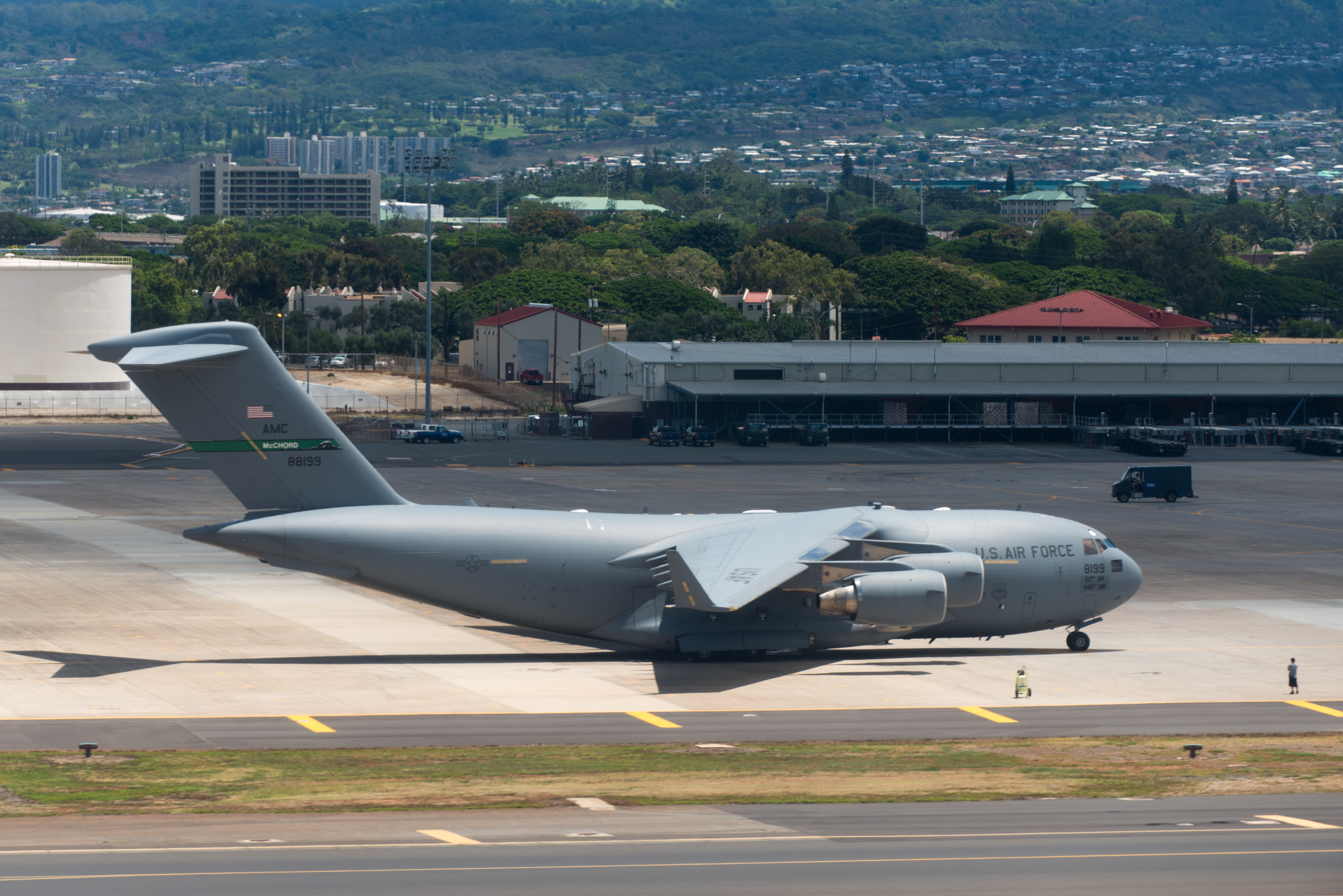 Profile view of u.s. air force jet on tarmac at joint base pearl harbor-hickam photo