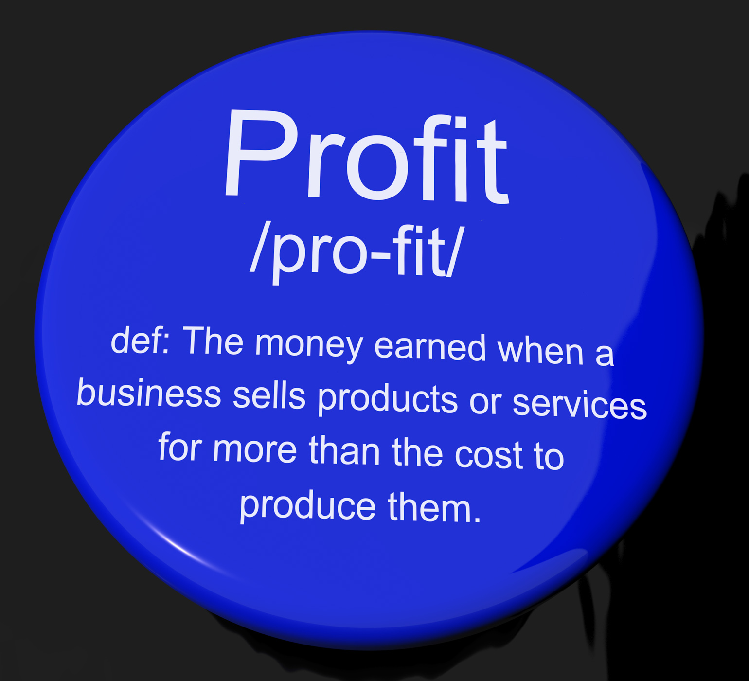 Profit definition button showing income earned from business photo