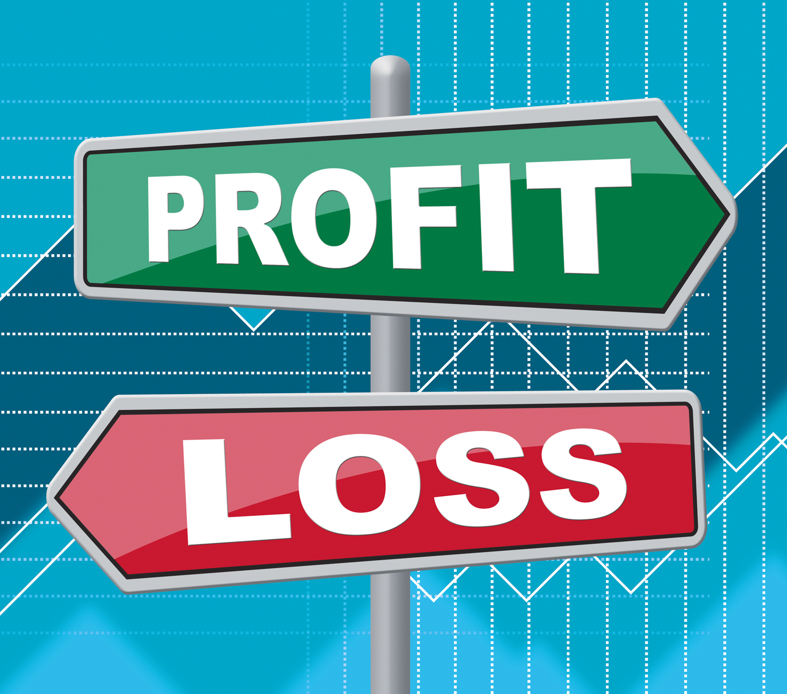 Profit loss indicates signboard board and money photo