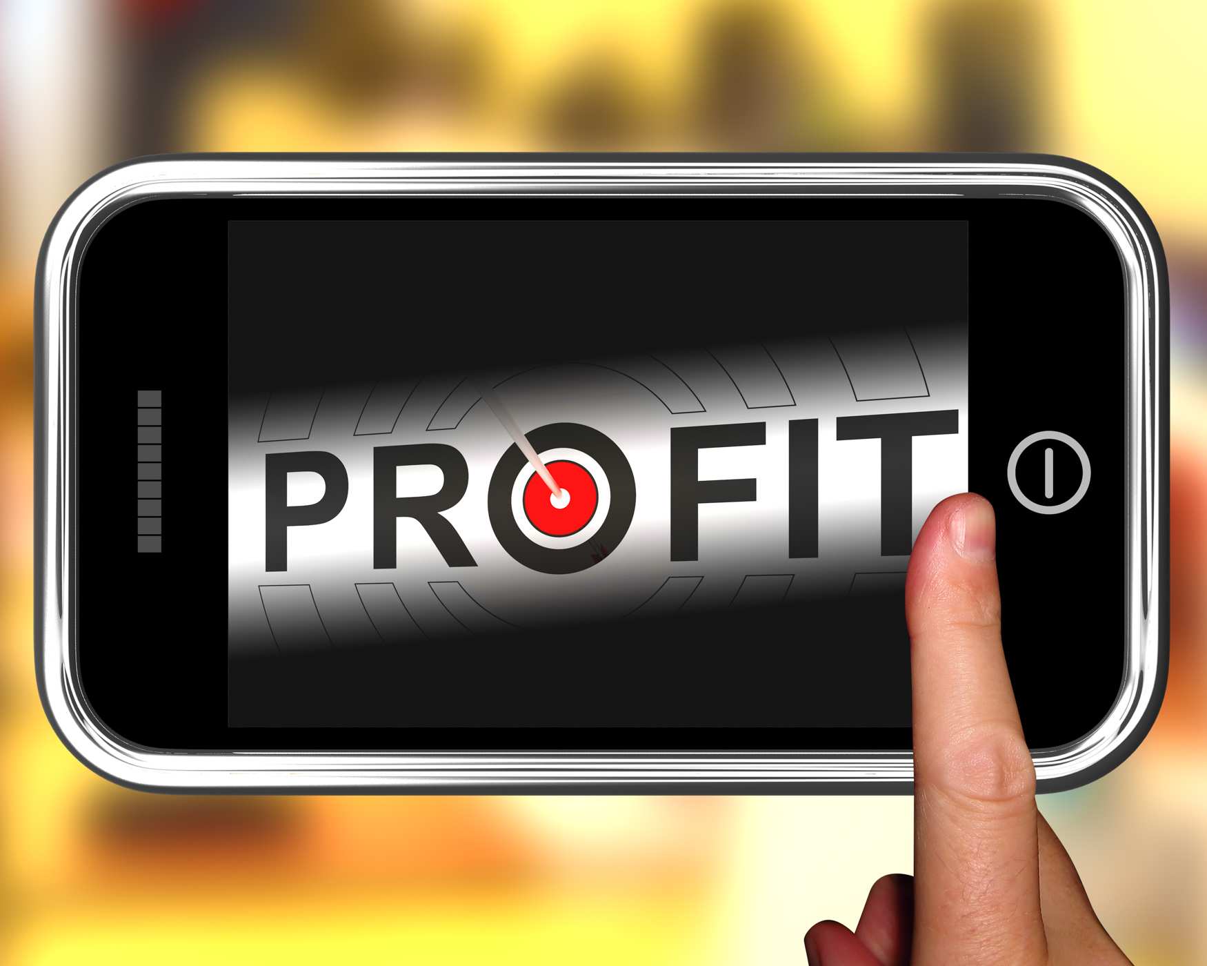 Profit on smartphone shows aimed progress photo