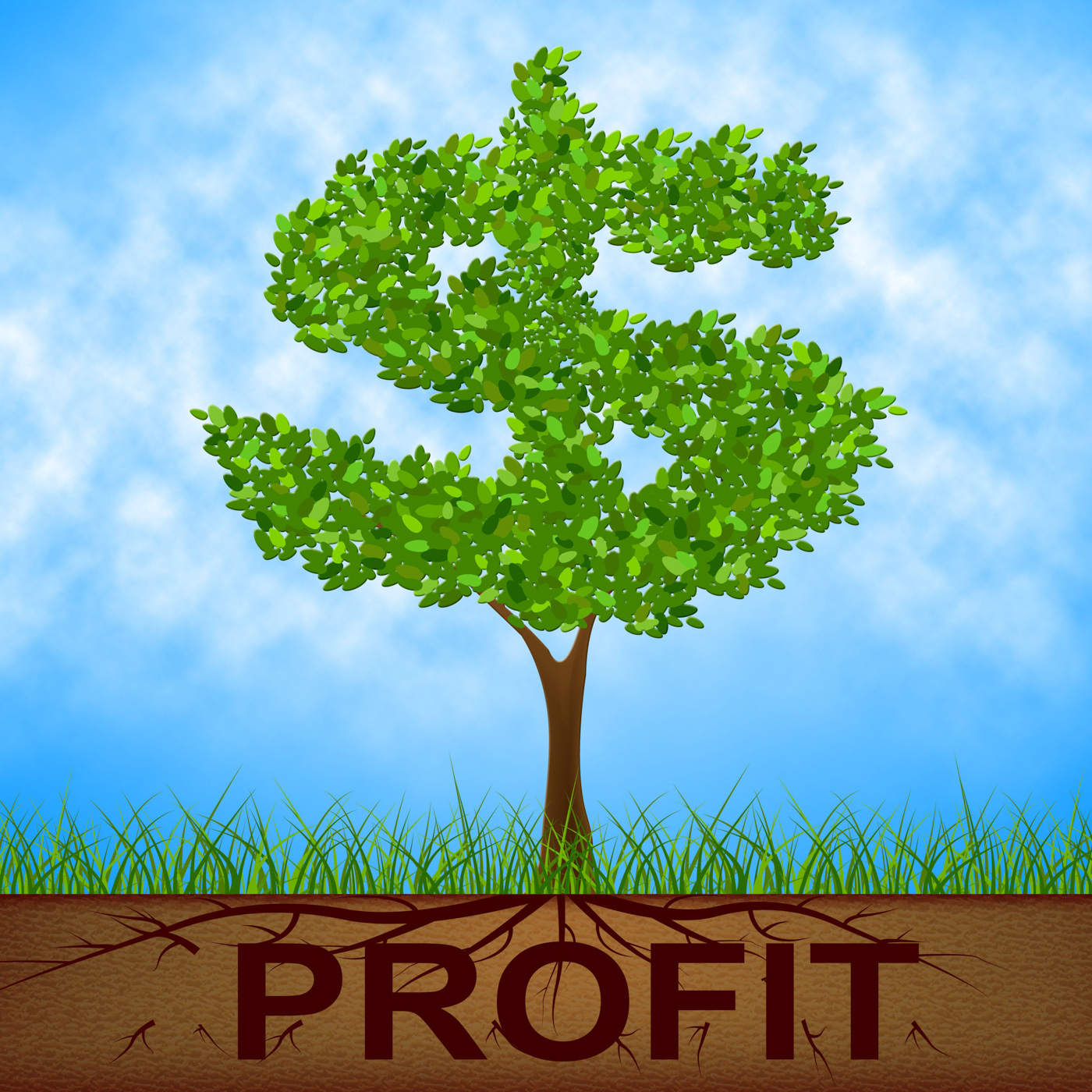Profit tree shows united states and banking photo
