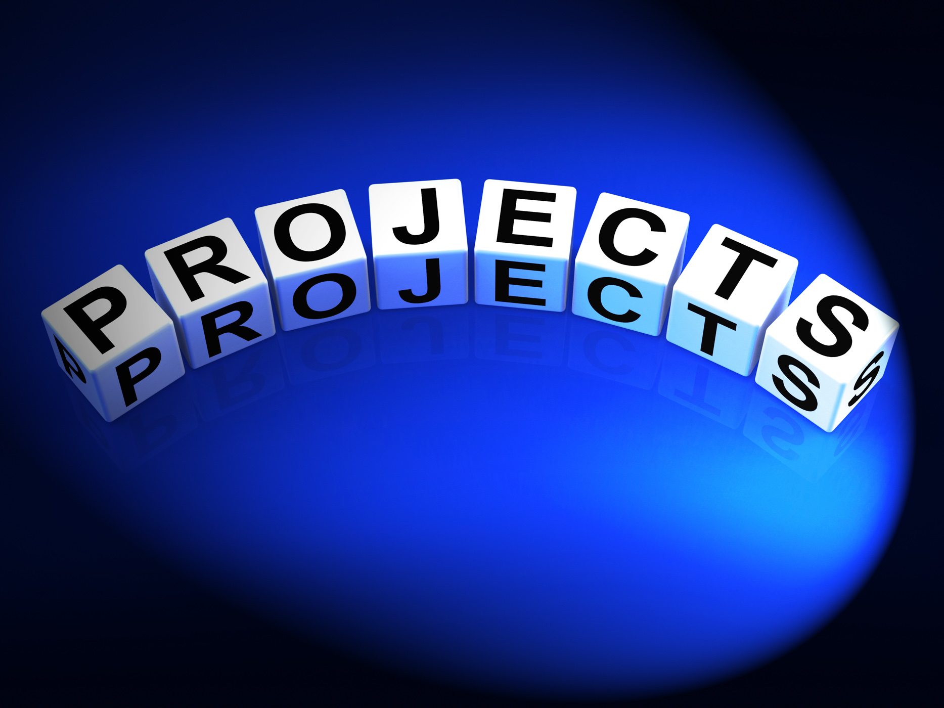 Projects dice represent ideas activities tasks and enterprises photo