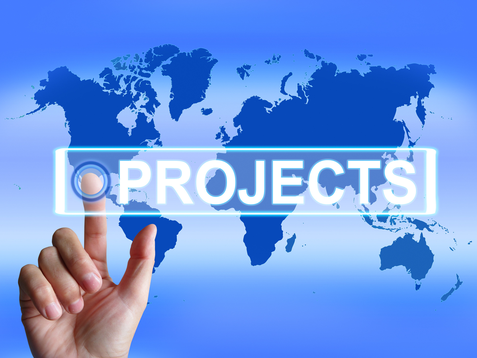 Projects map indicates international or internet task or activity photo
