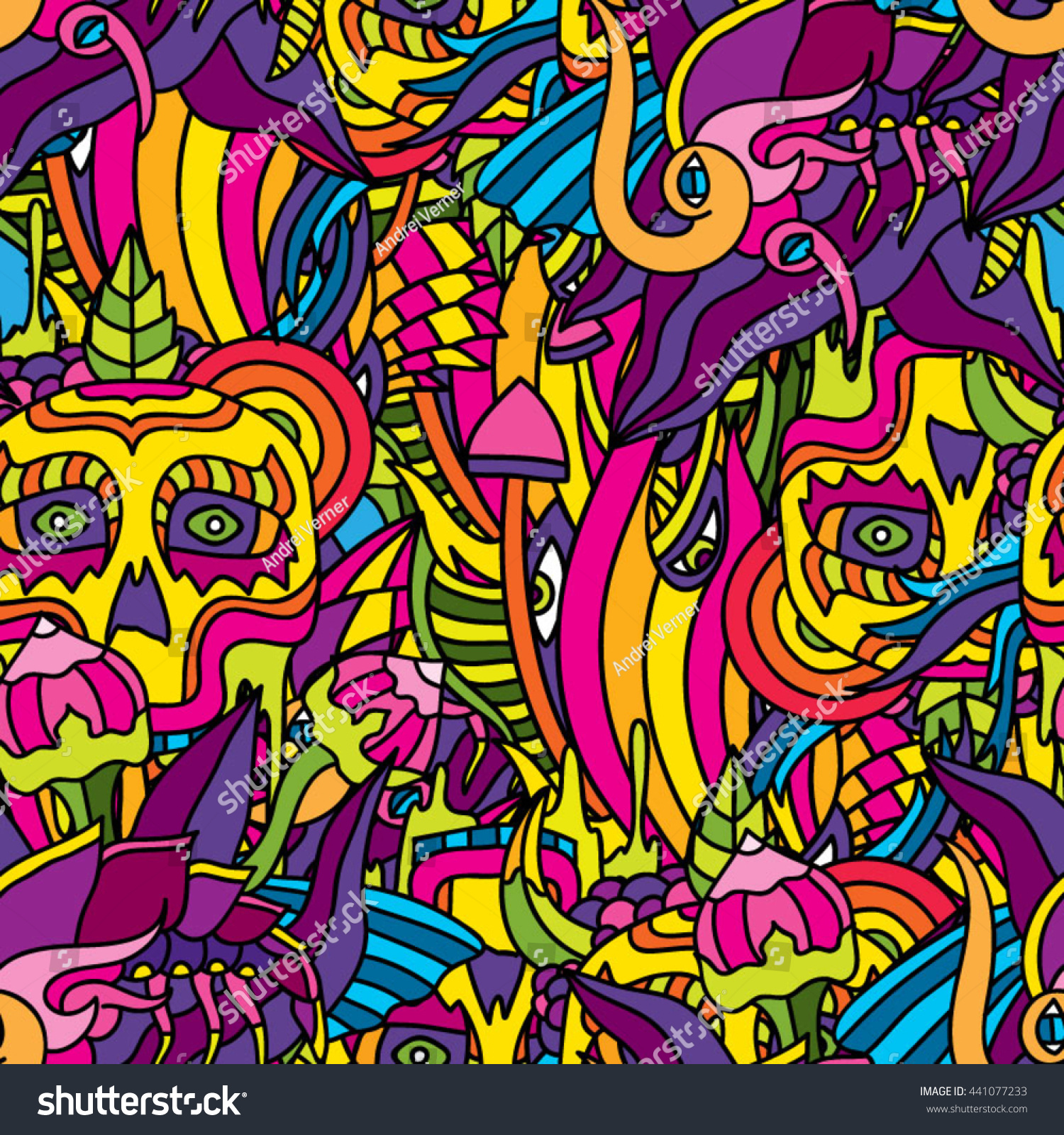 Psychedelic 60 S Hippie Ornament Seamless Vector Stock Vector HD ...