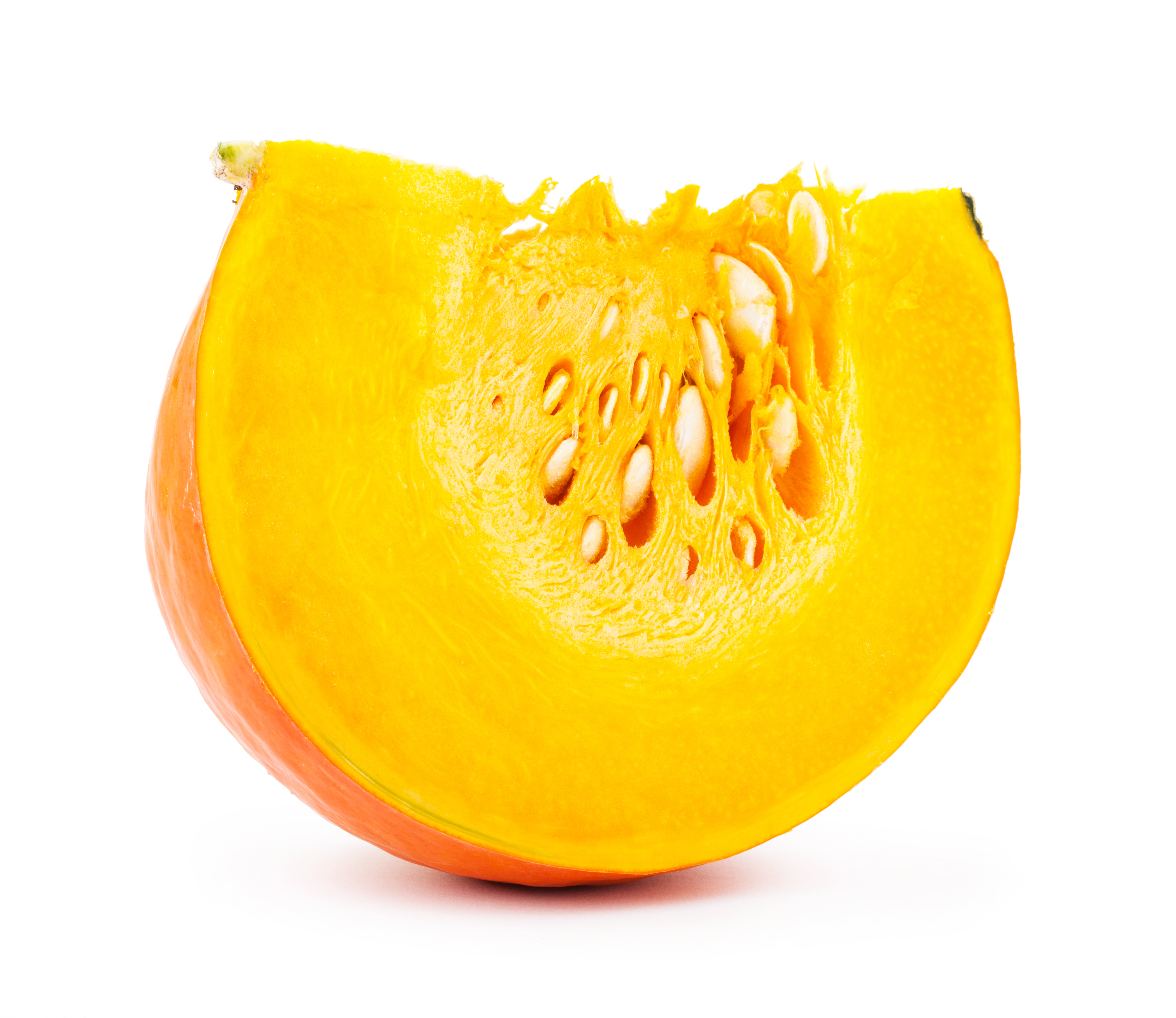 Pumpkin slice on white photo