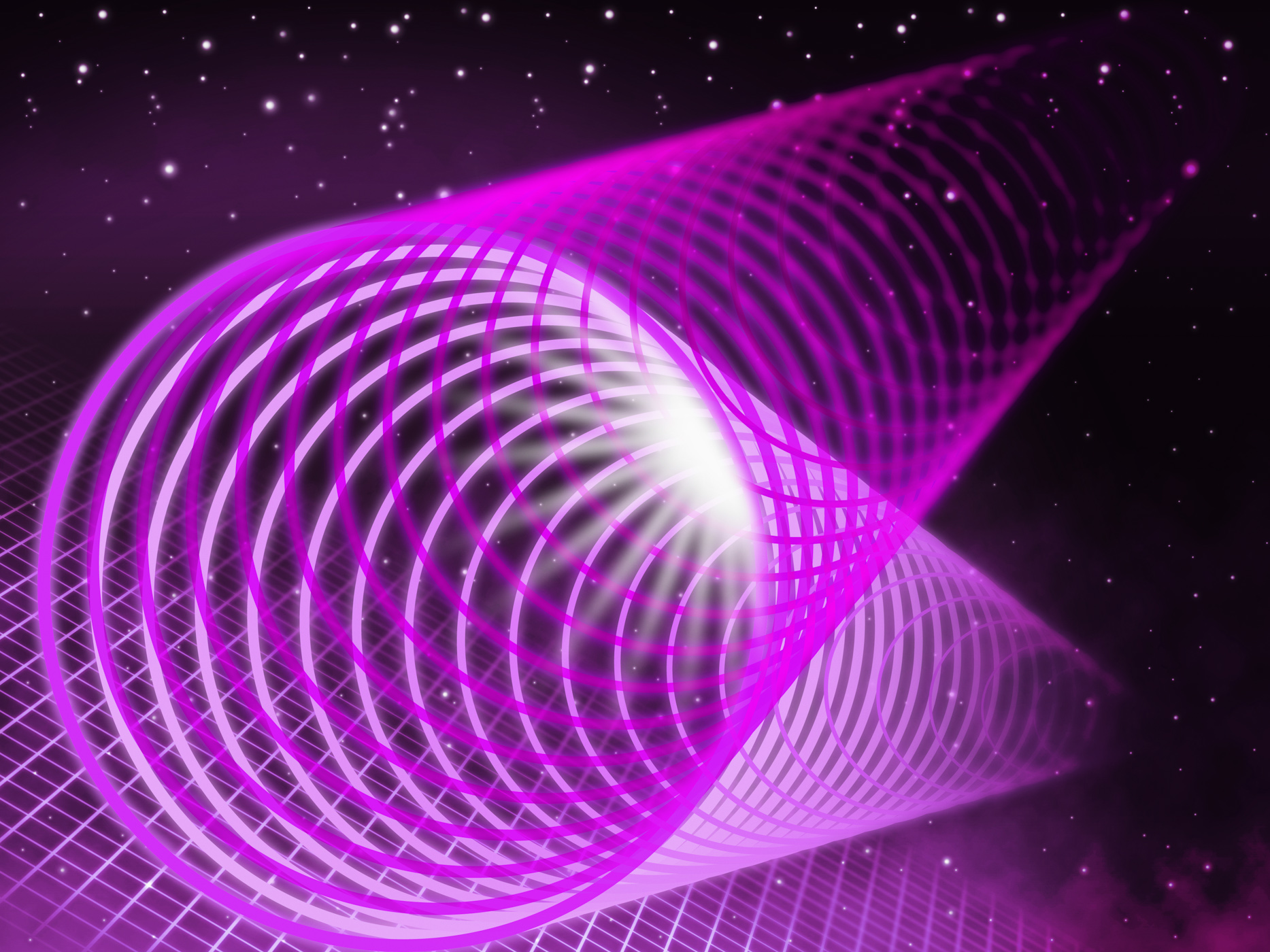 Purple coil background shows pipe light and night sky photo