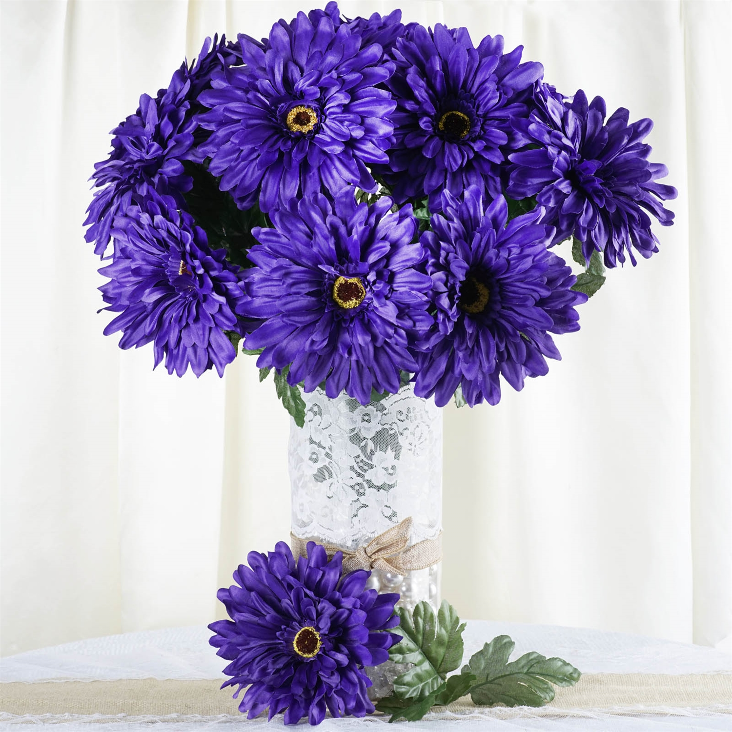 28 Gerbera Daisy Flowers Bush Wedding Vase Centerpiece Decor -Purple