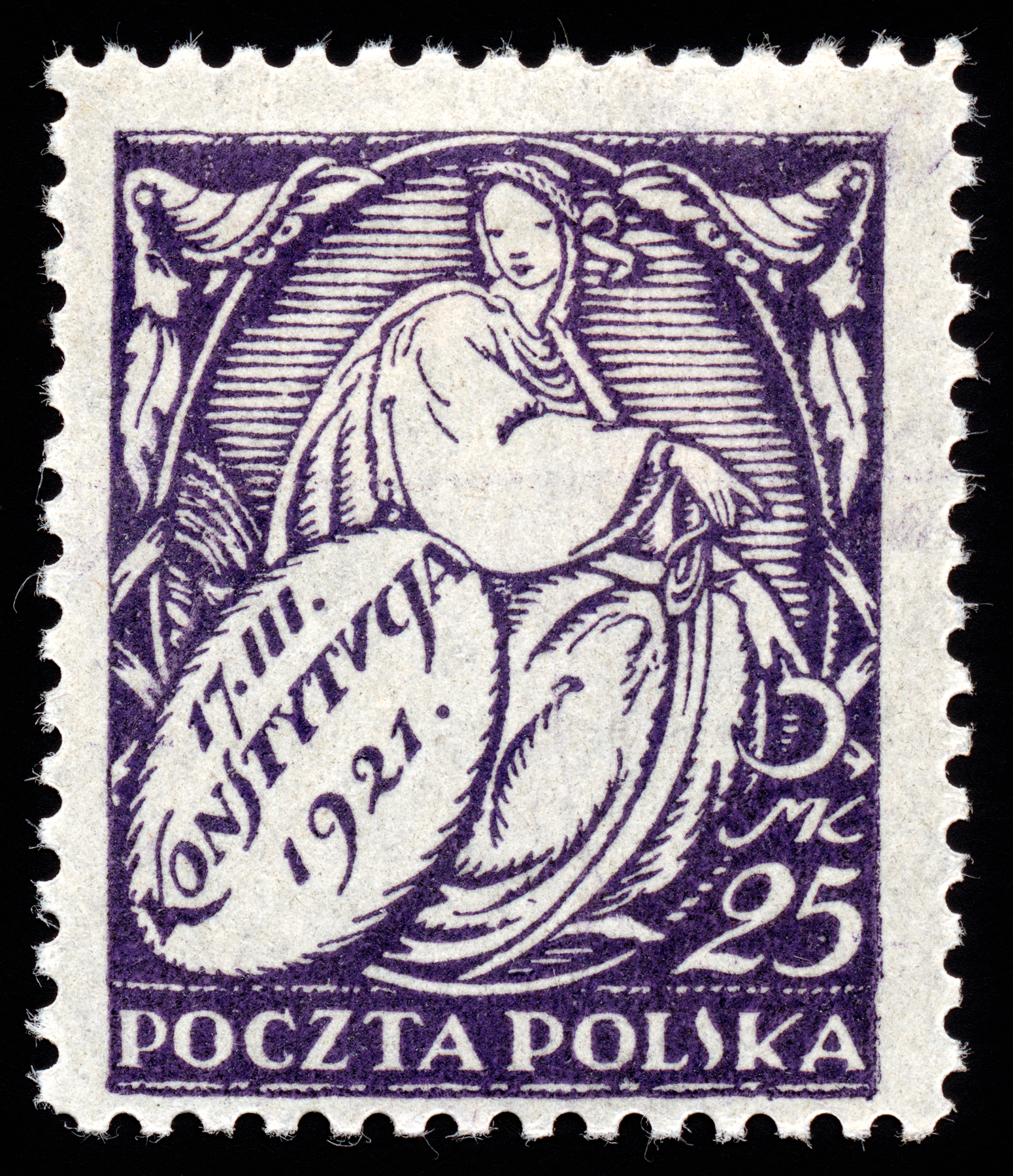 Purple new constitution stamp photo