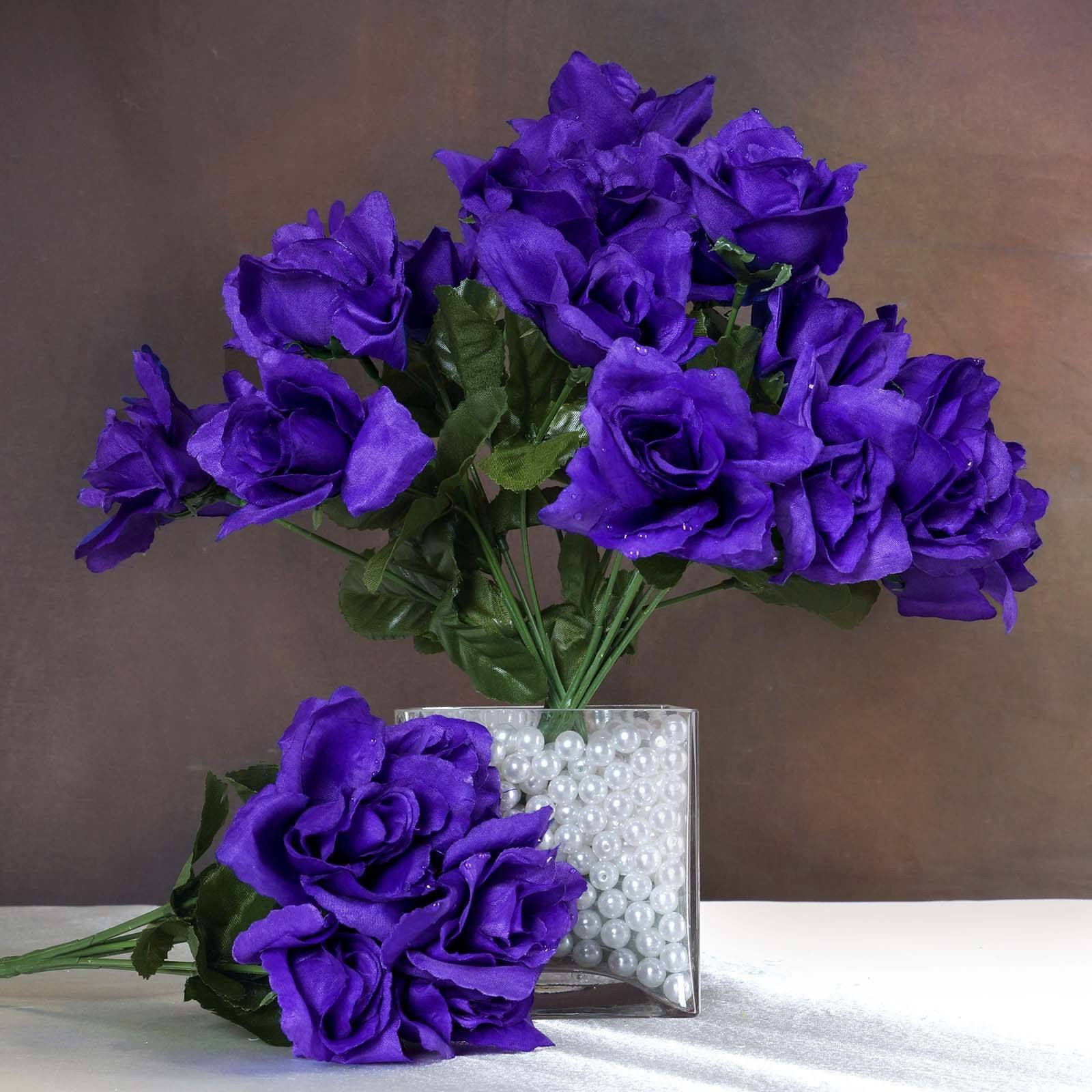 84 Artificial Silk Open Roses - Purple | eFavorMart