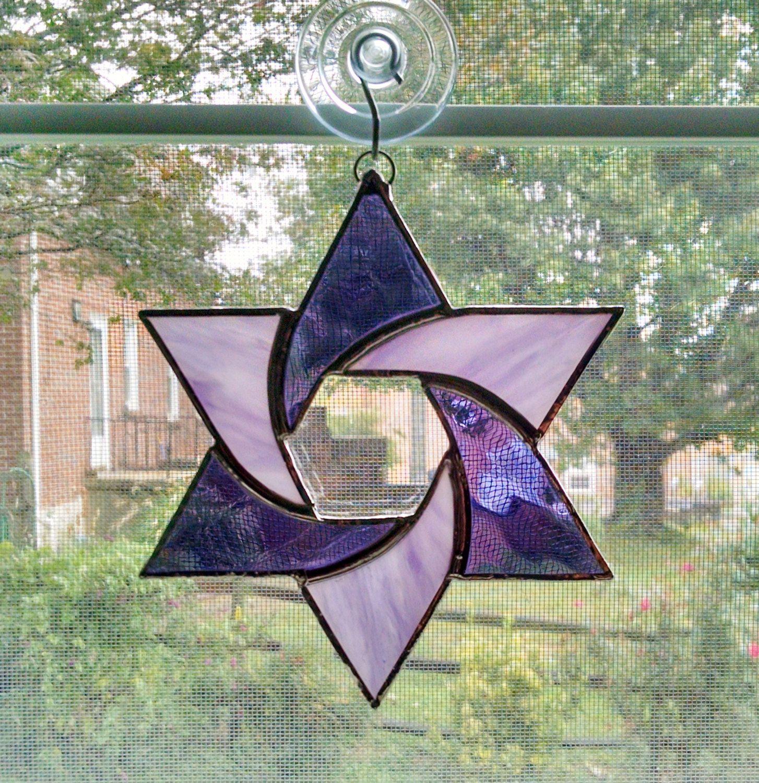 Stained Glass Star Suncatcher - Star of David - Judaica - Purple ...