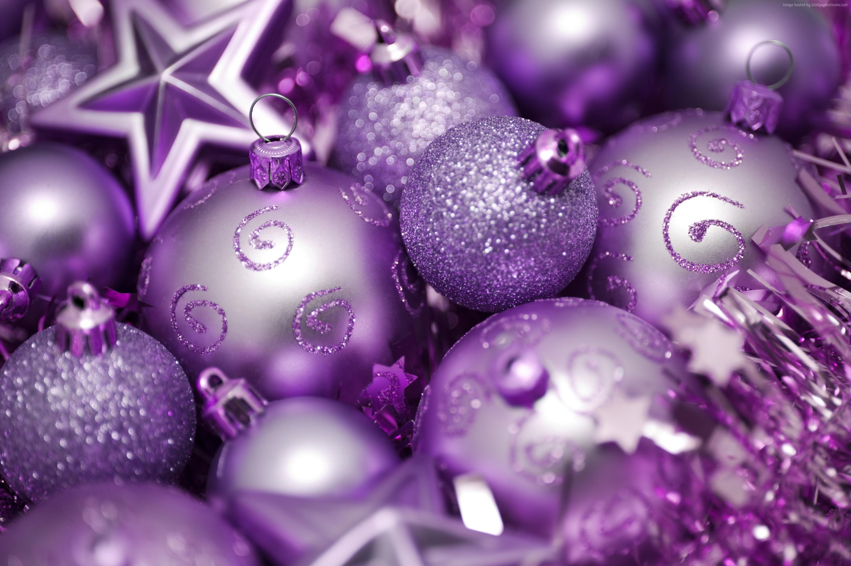 Wallpaper Christmas, New year, balls, decorations, star, purple ...
