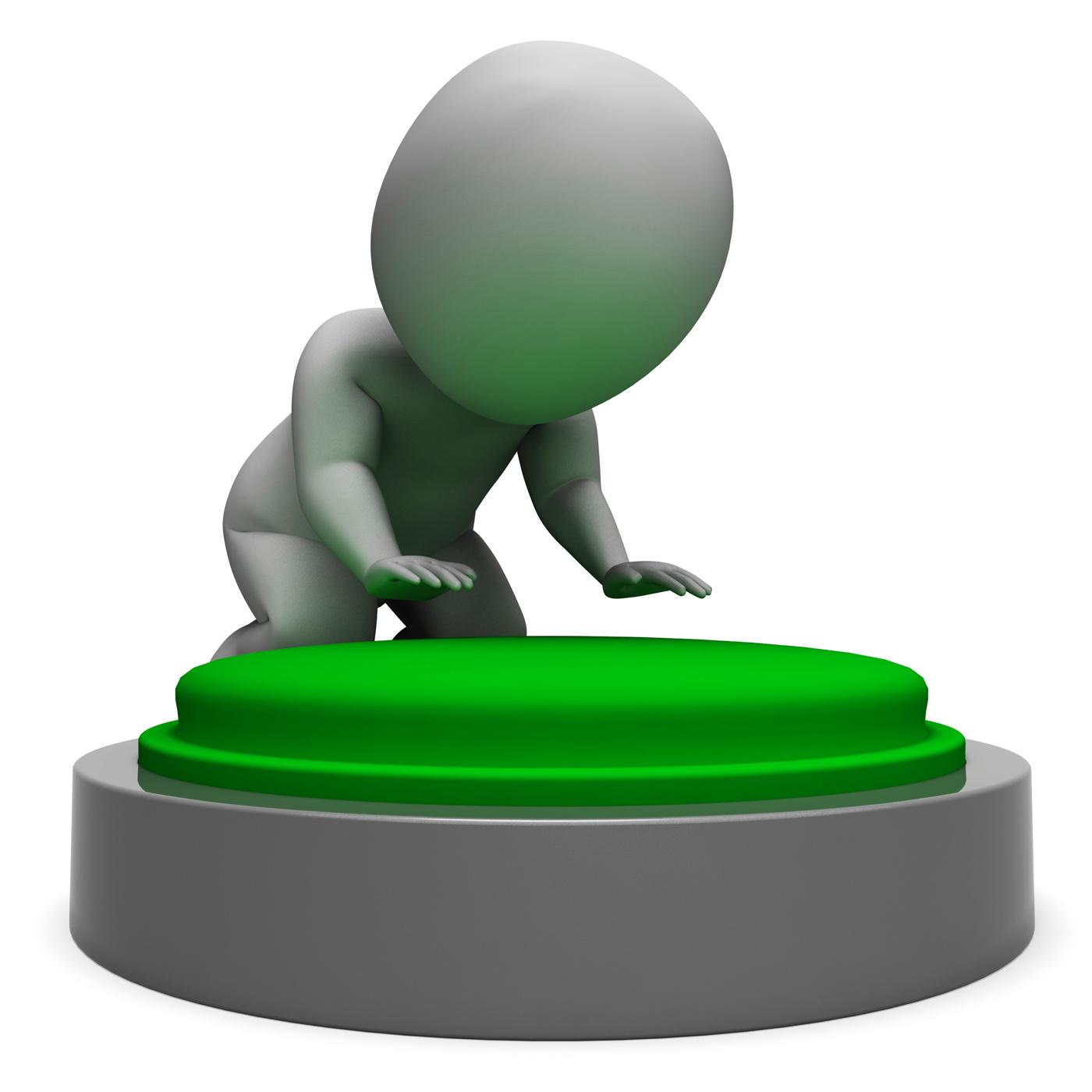 Pushing green button showing start photo