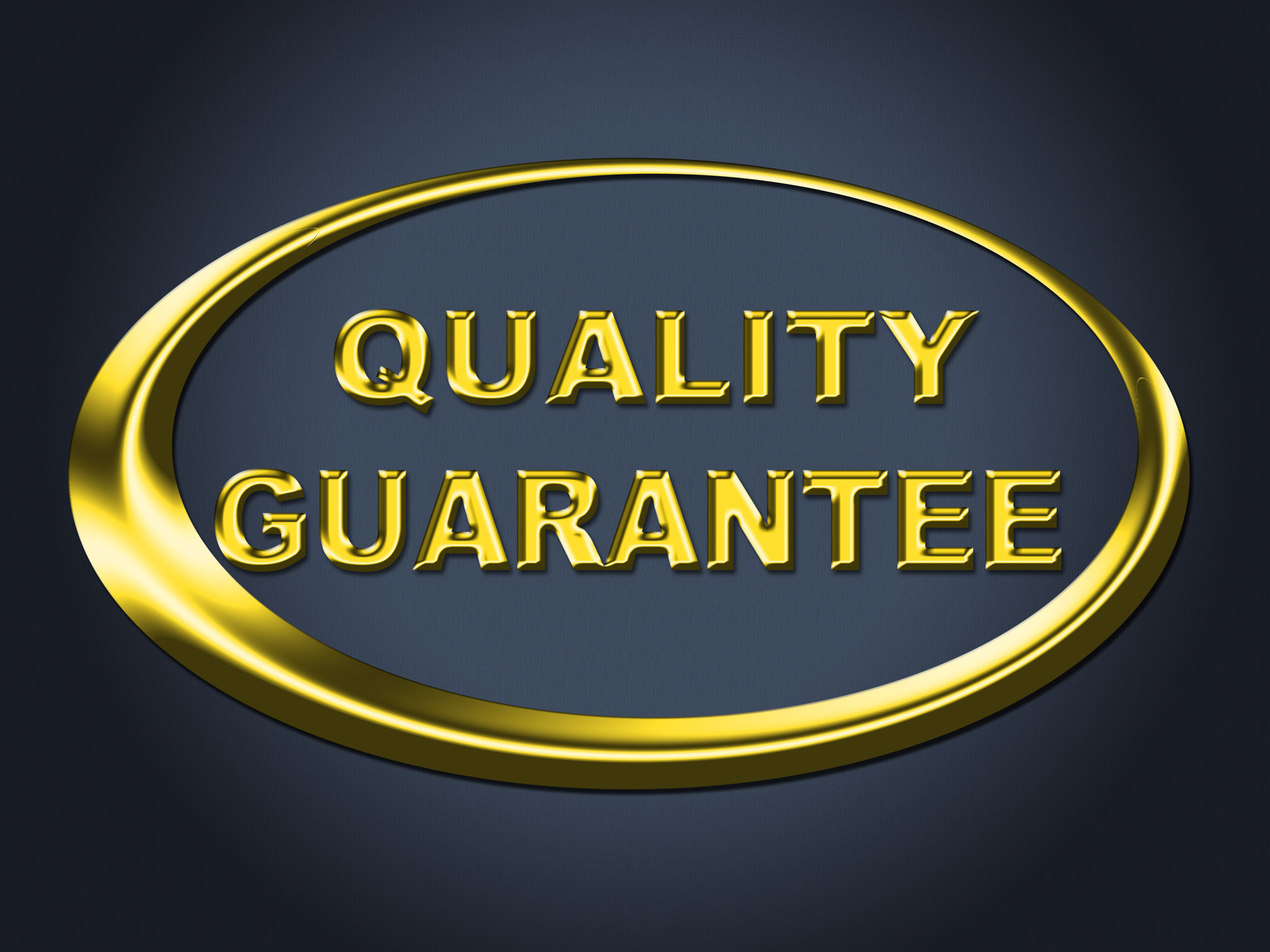 Quality guarantee sign shows guaranteed placard and check photo