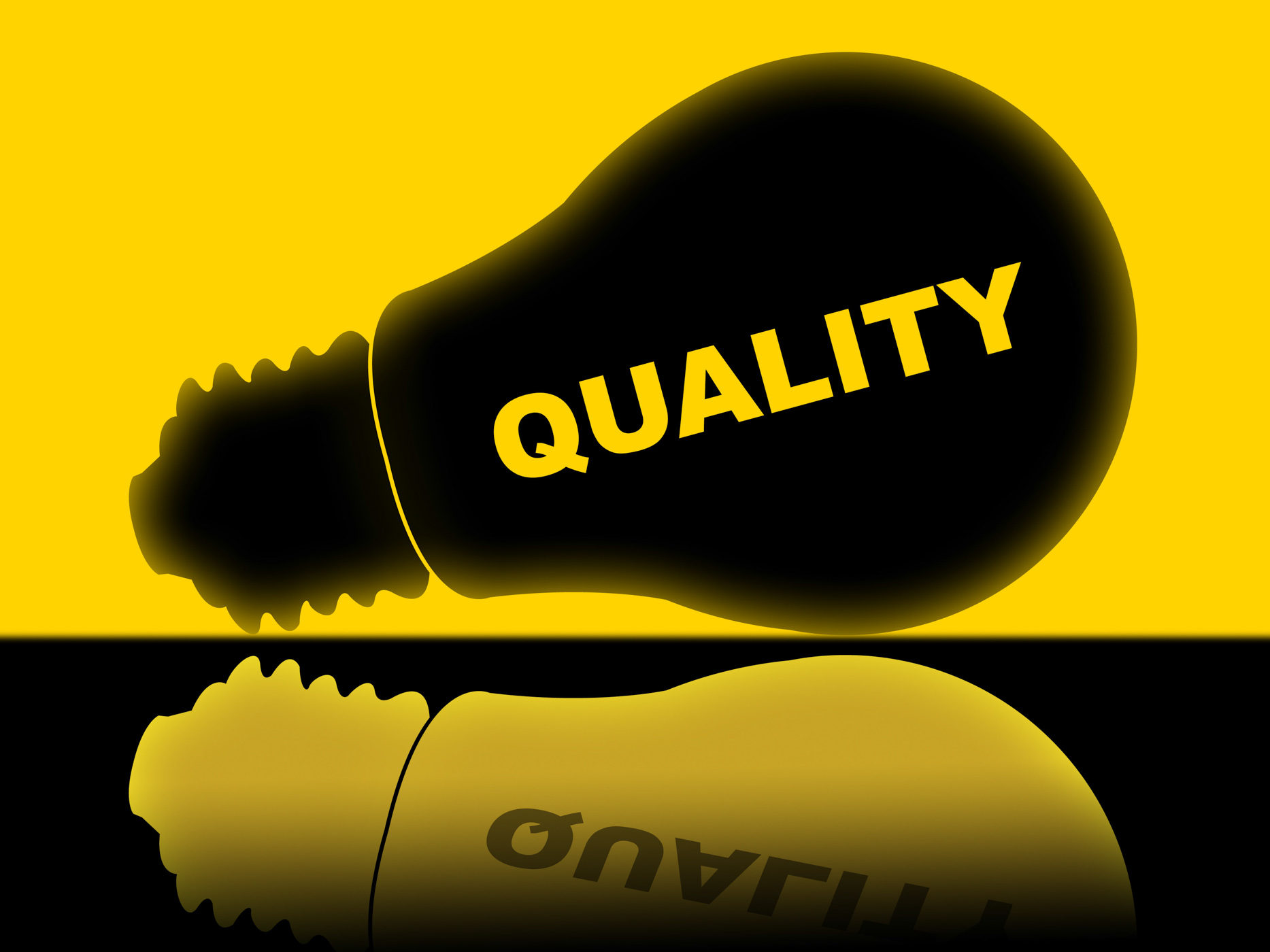 Quality lightbulb indicates check approved and certified photo