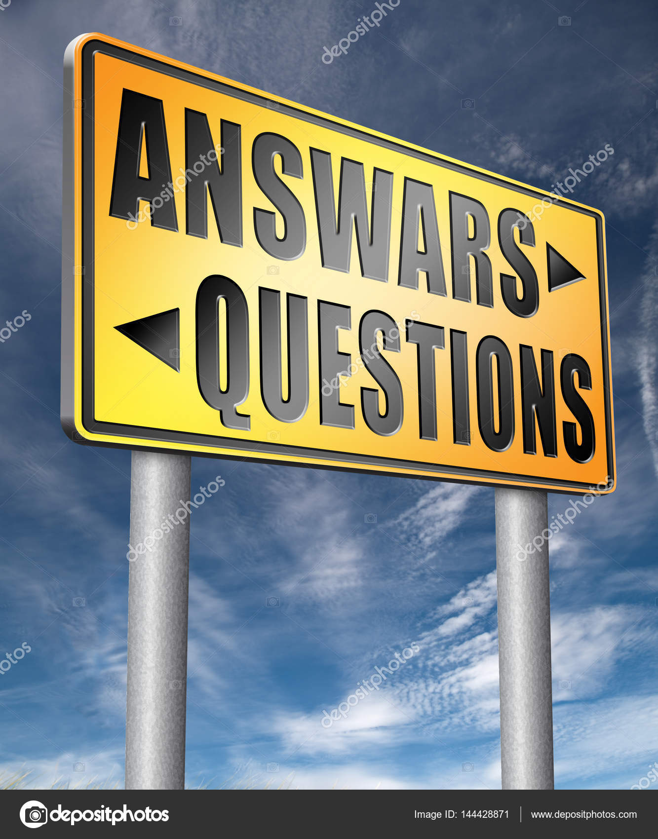 questions answers road sign 3D illustration — Stock Photo ...