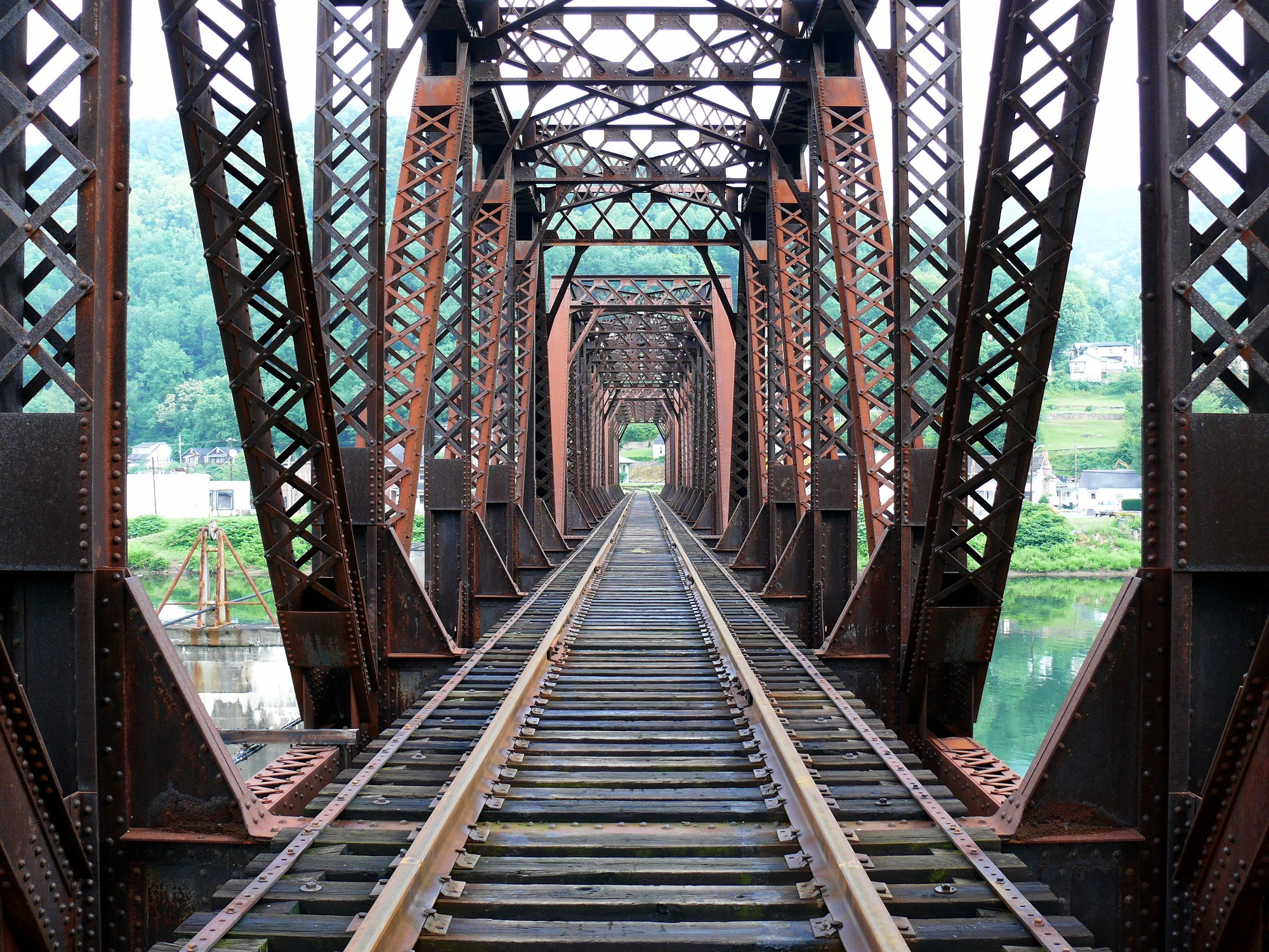 Railroad Bridge, Bridge, Construction, Metal, Path, HQ Photo