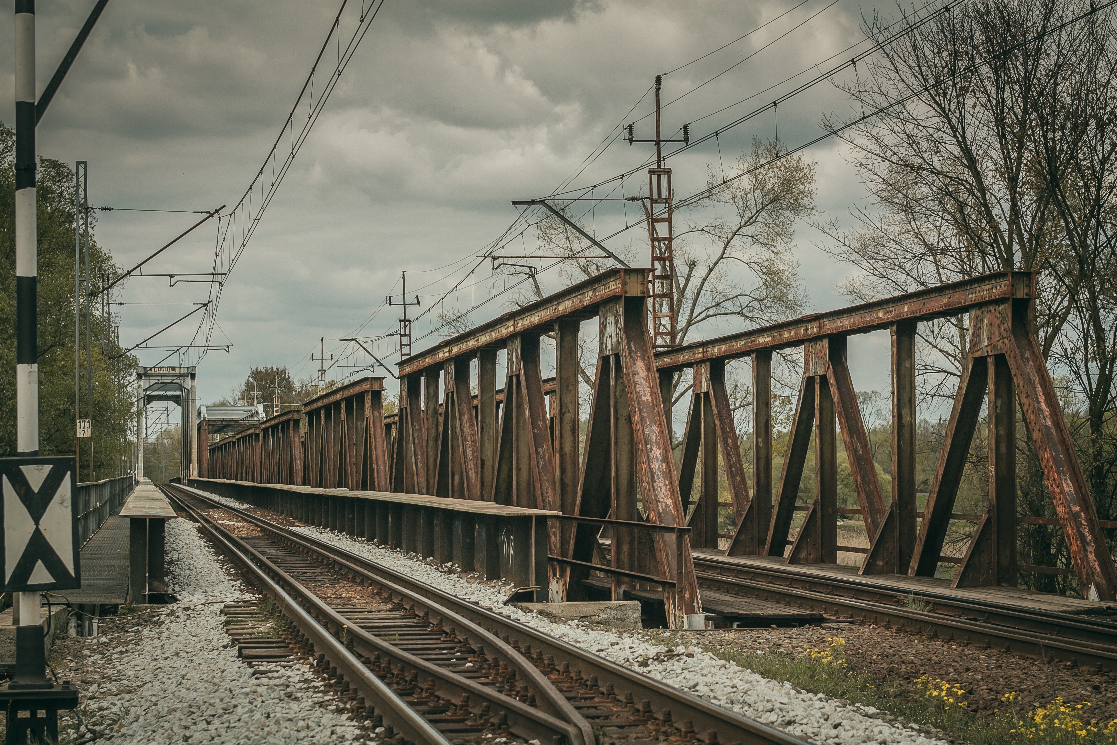 Railroad tracks against sky photo