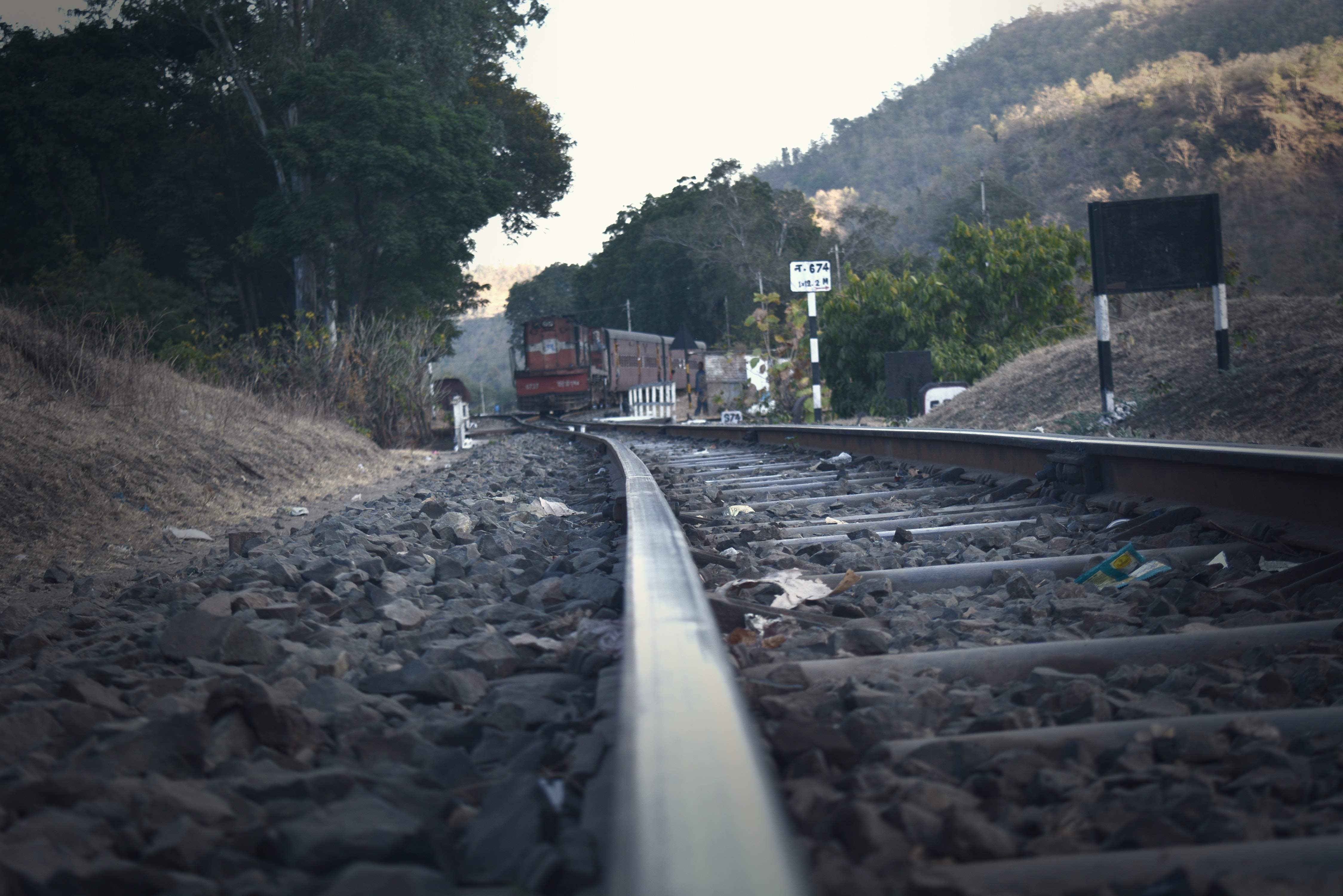 Railroad Tracks Amidst Trees Against Sky, Outdoors, Pebbles, Perspective, Railroad, HQ Photo