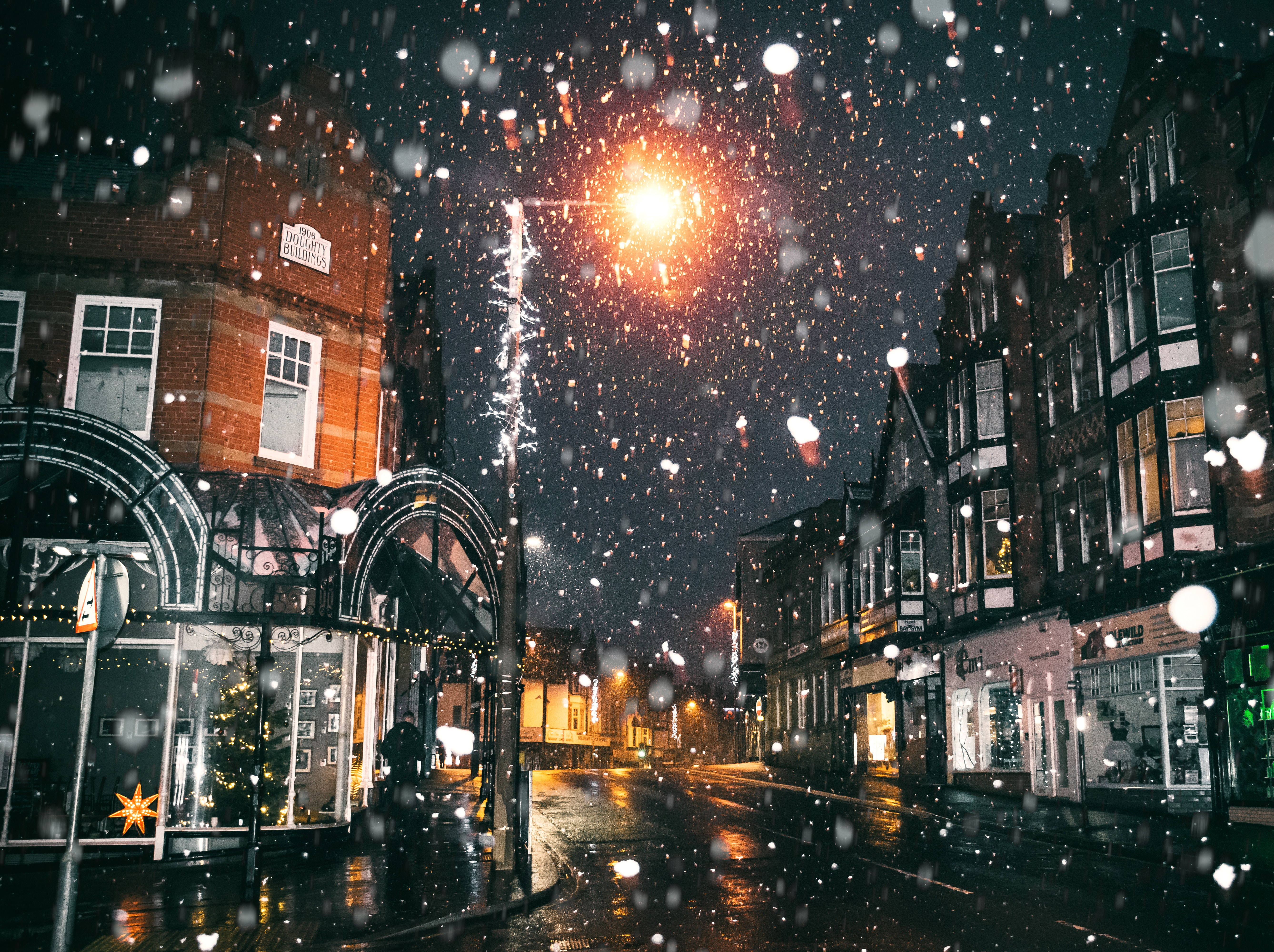 Rain of Snow in Town Painting, Outdoors, Winter, Urban, Town, HQ Photo