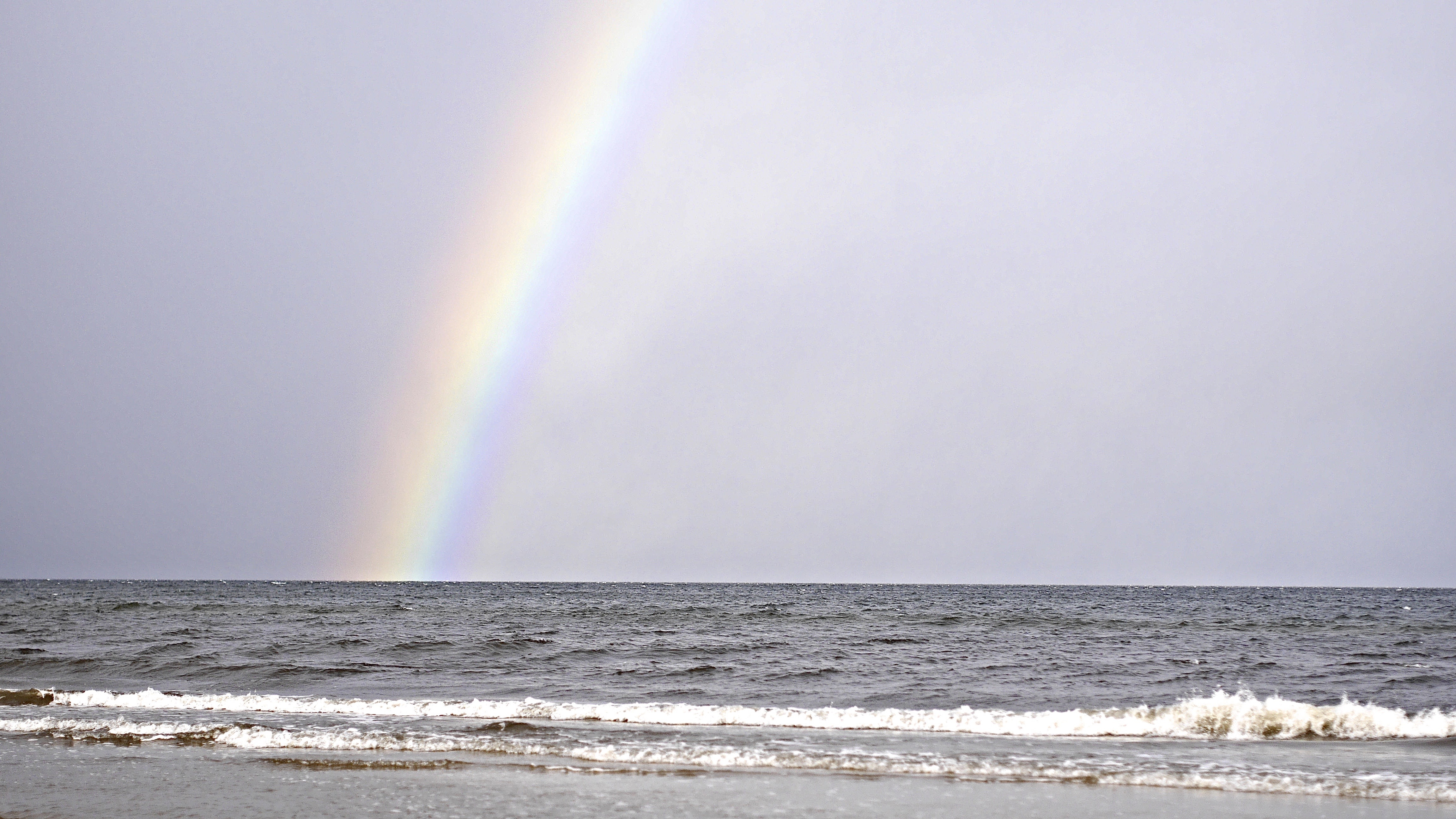 Rainbow at the Sea, Sea, Waves, Rainbow, Nature, HQ Photo