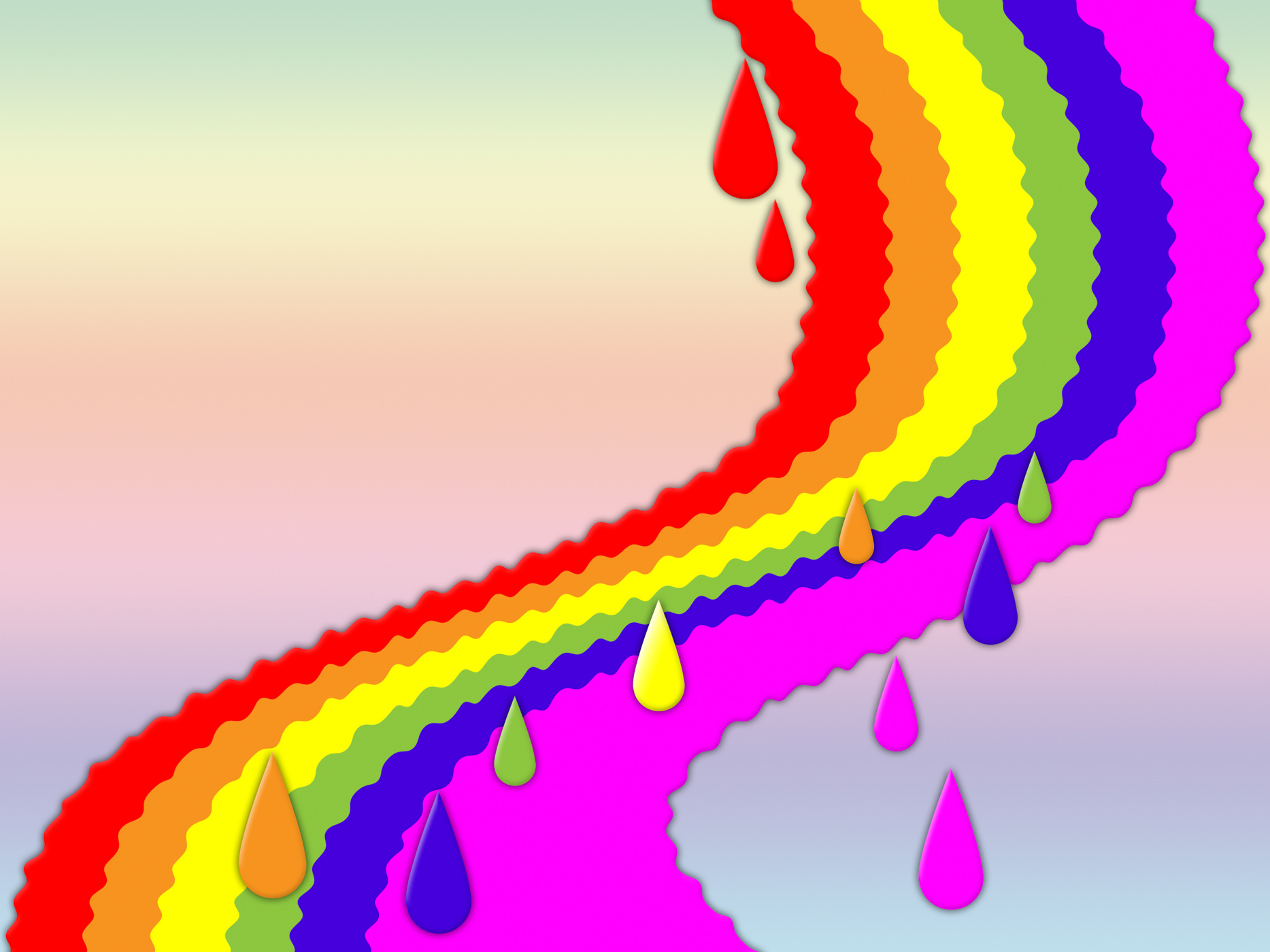 Rainbow background shows dripping art and colorful photo