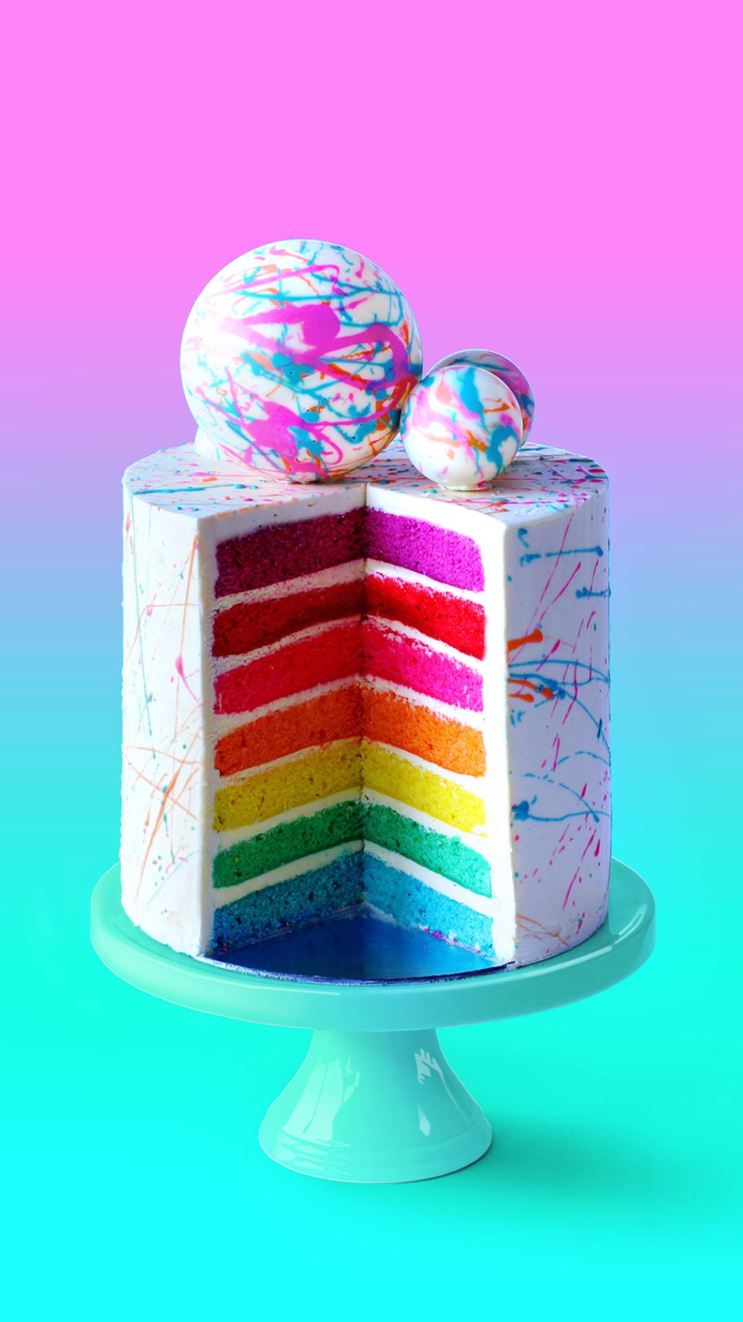 Rainbow layer cake photo