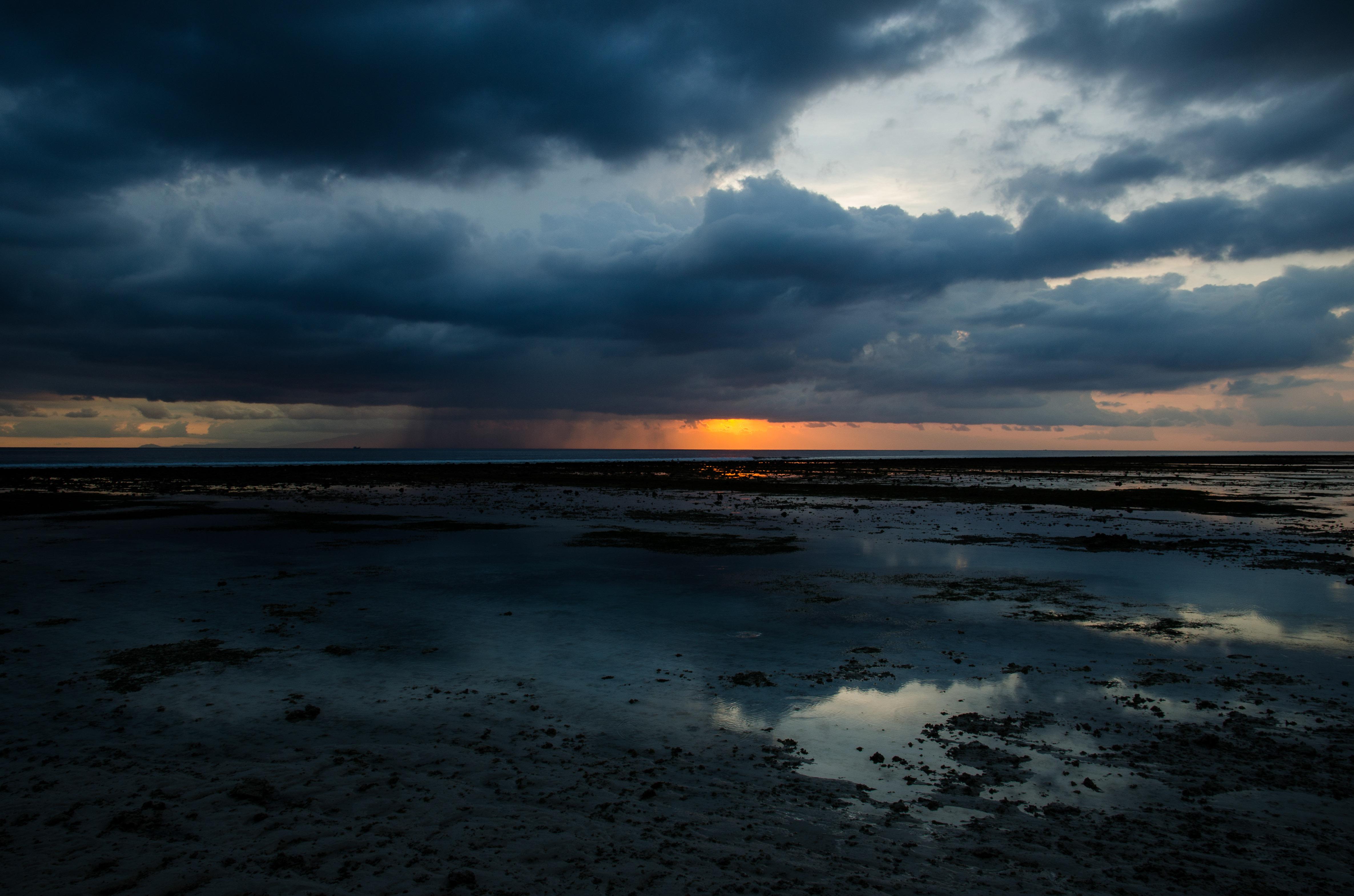 Rainy Clouds On Gili, Beach, Cloud, Coast, Dusk, HQ Photo