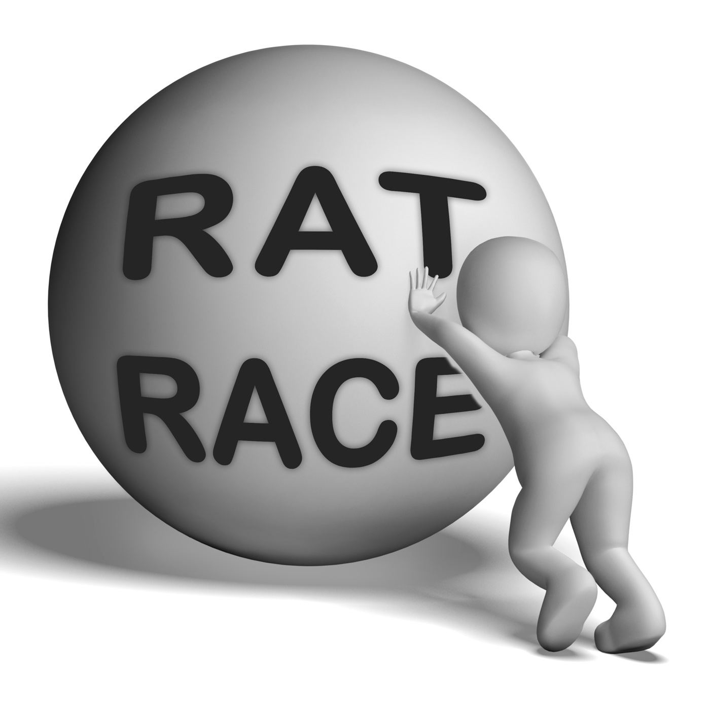 Rat race uphill character shows hectic work competition photo