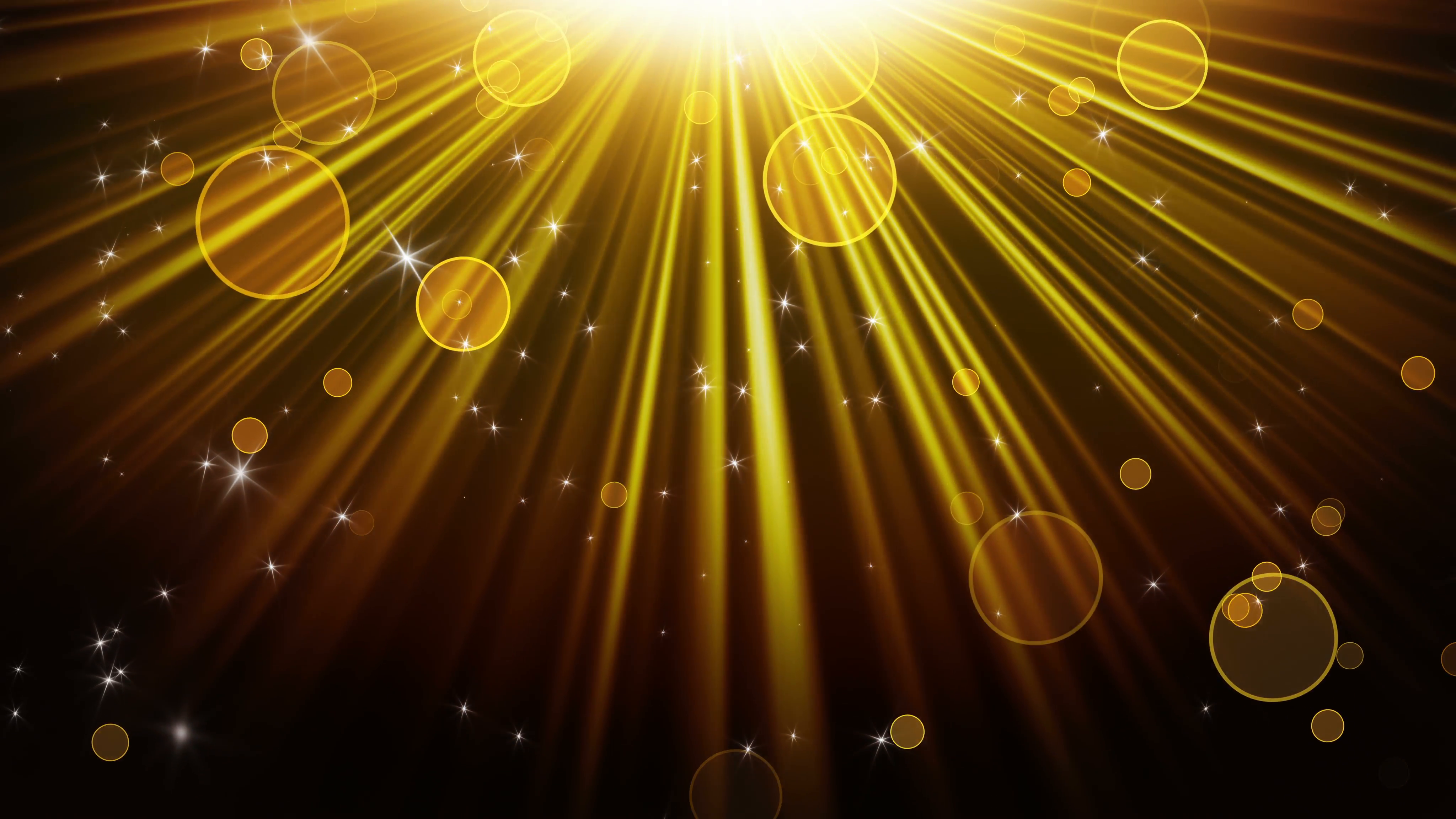 gold rays of light and stars loopable background 4k (4096x2304 ...