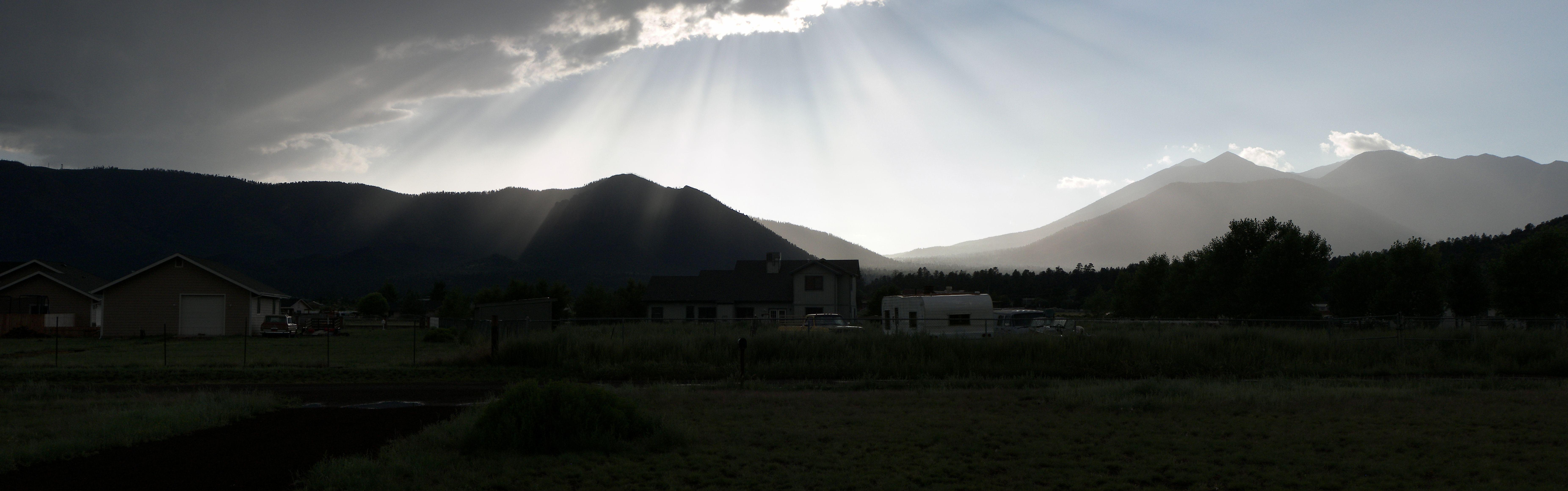 Rays of Sun, Arizona, Flagstaff, Mountains, Panorama, HQ Photo