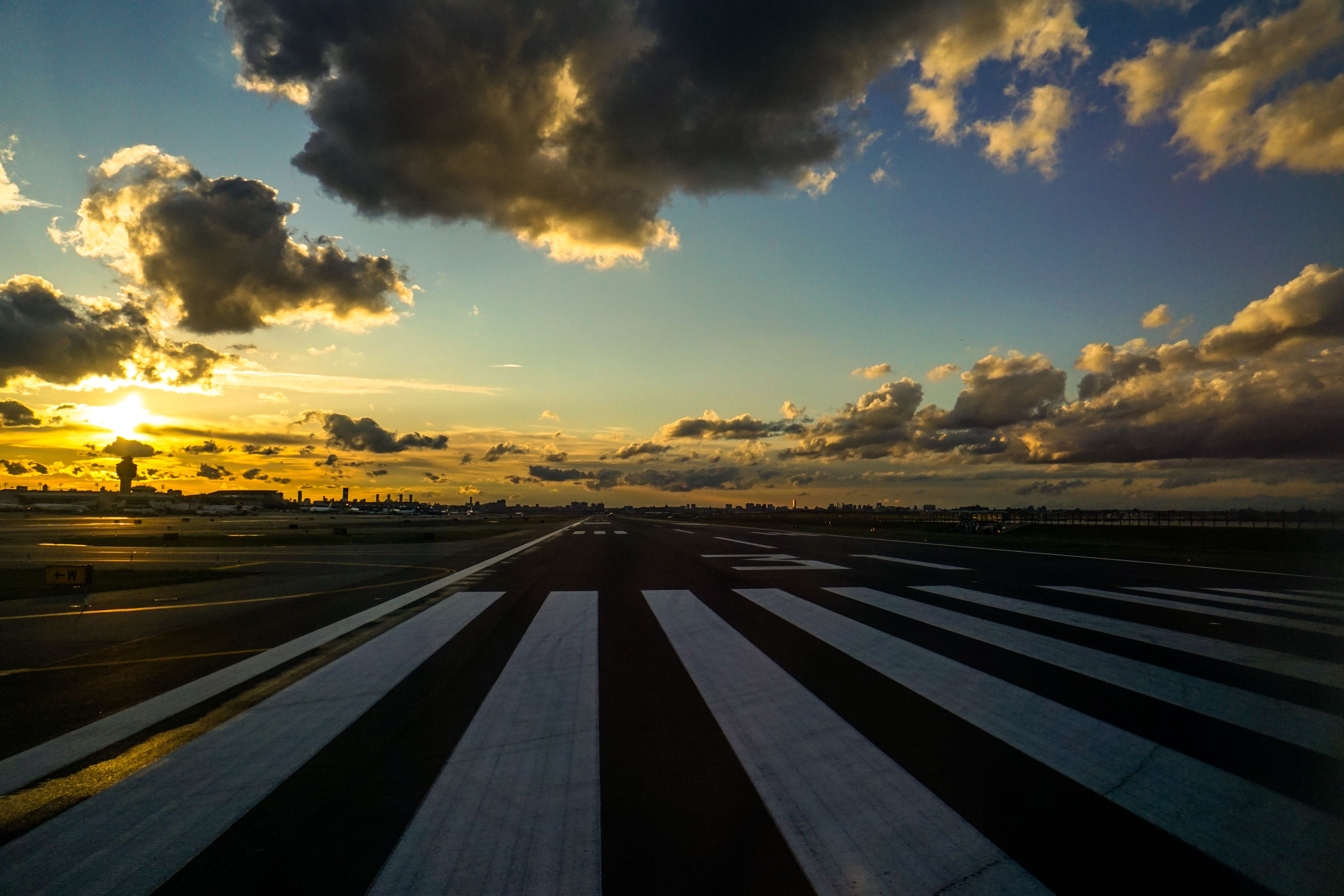 Ready for Takeoff, Takeoff, Sunset, Runway, Airport, HQ Photo