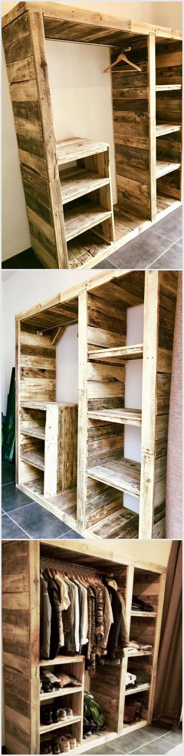 Shocking Recycling Ideas for Shipping Wood Pallets | Pallet wardrobe ...