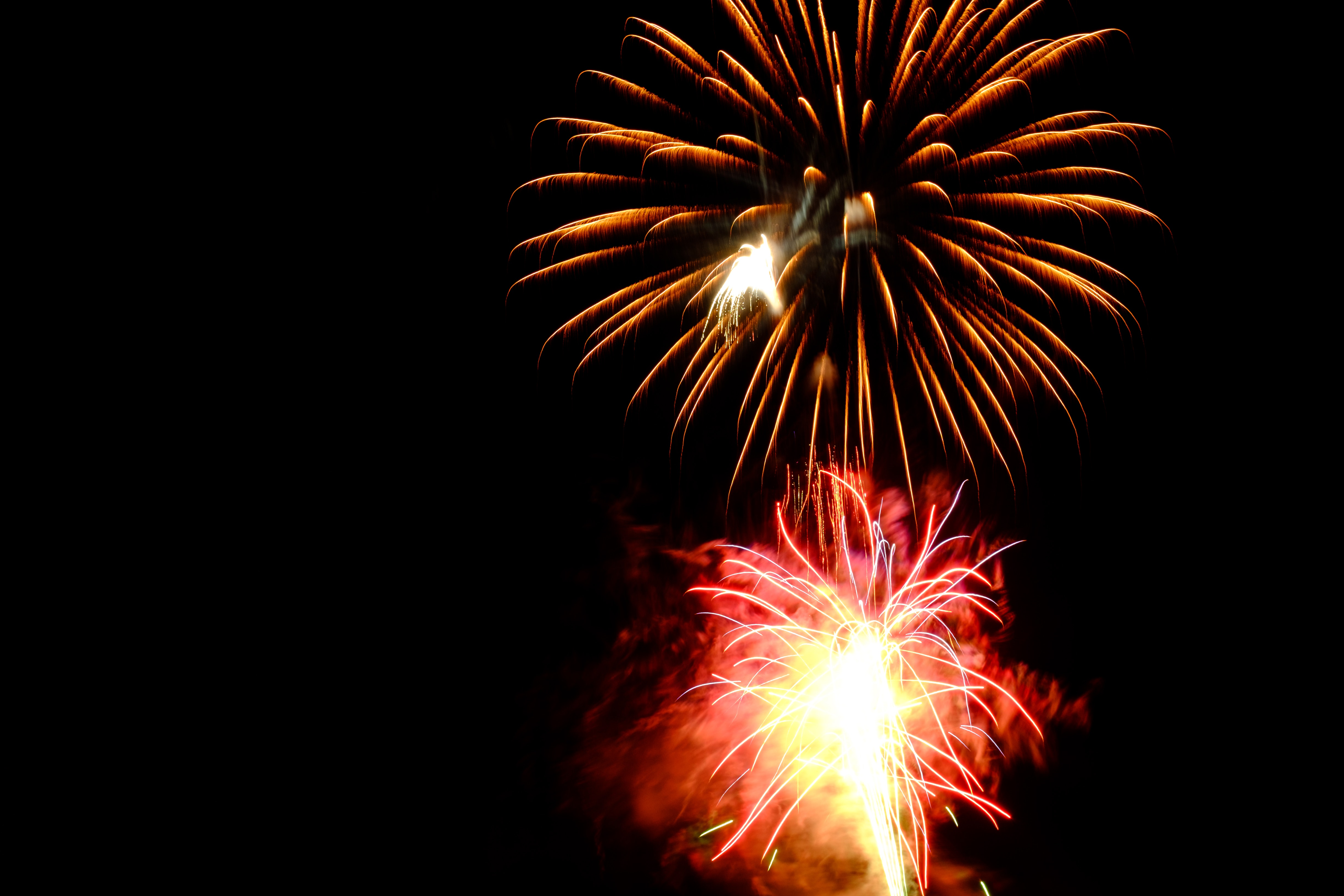 Red and Brown Fireworks Display Photo, Beautiful, Flash, Sparks, Sky, HQ Photo
