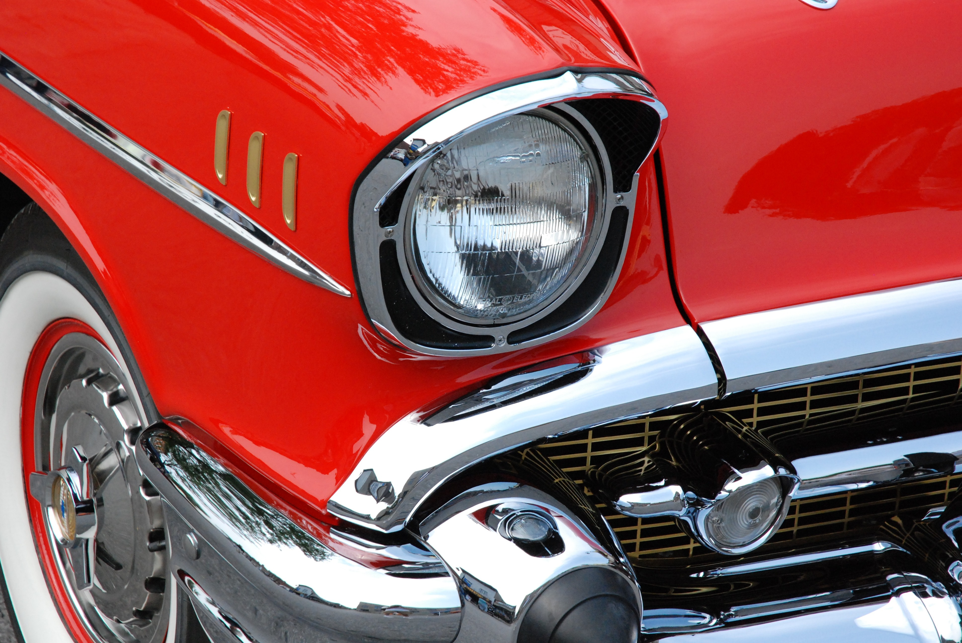 Red and gray classic car photo