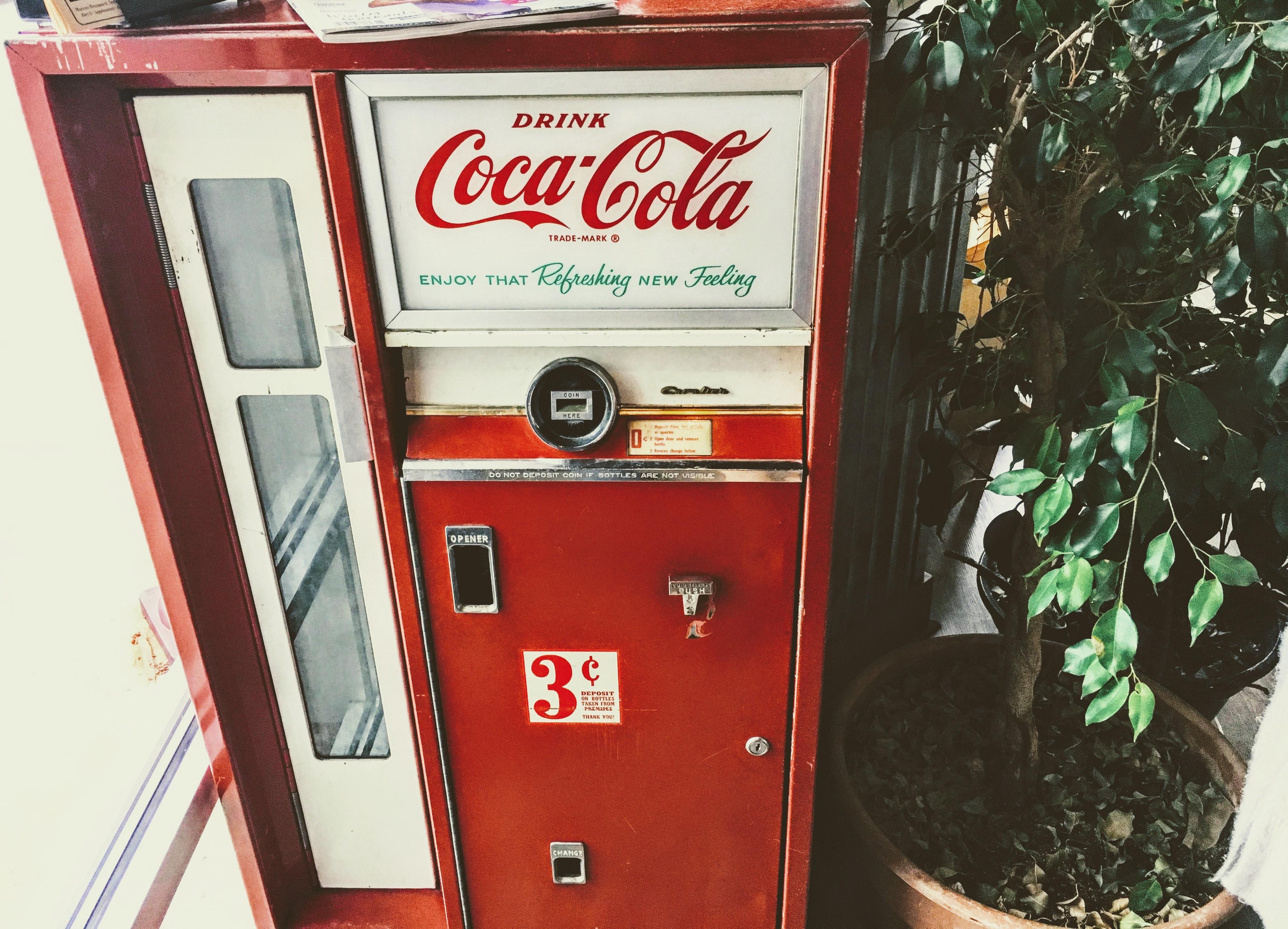 Red and White Coca-cola Vending Machine, Business, Close-up, Coca cola, Conceptual, HQ Photo