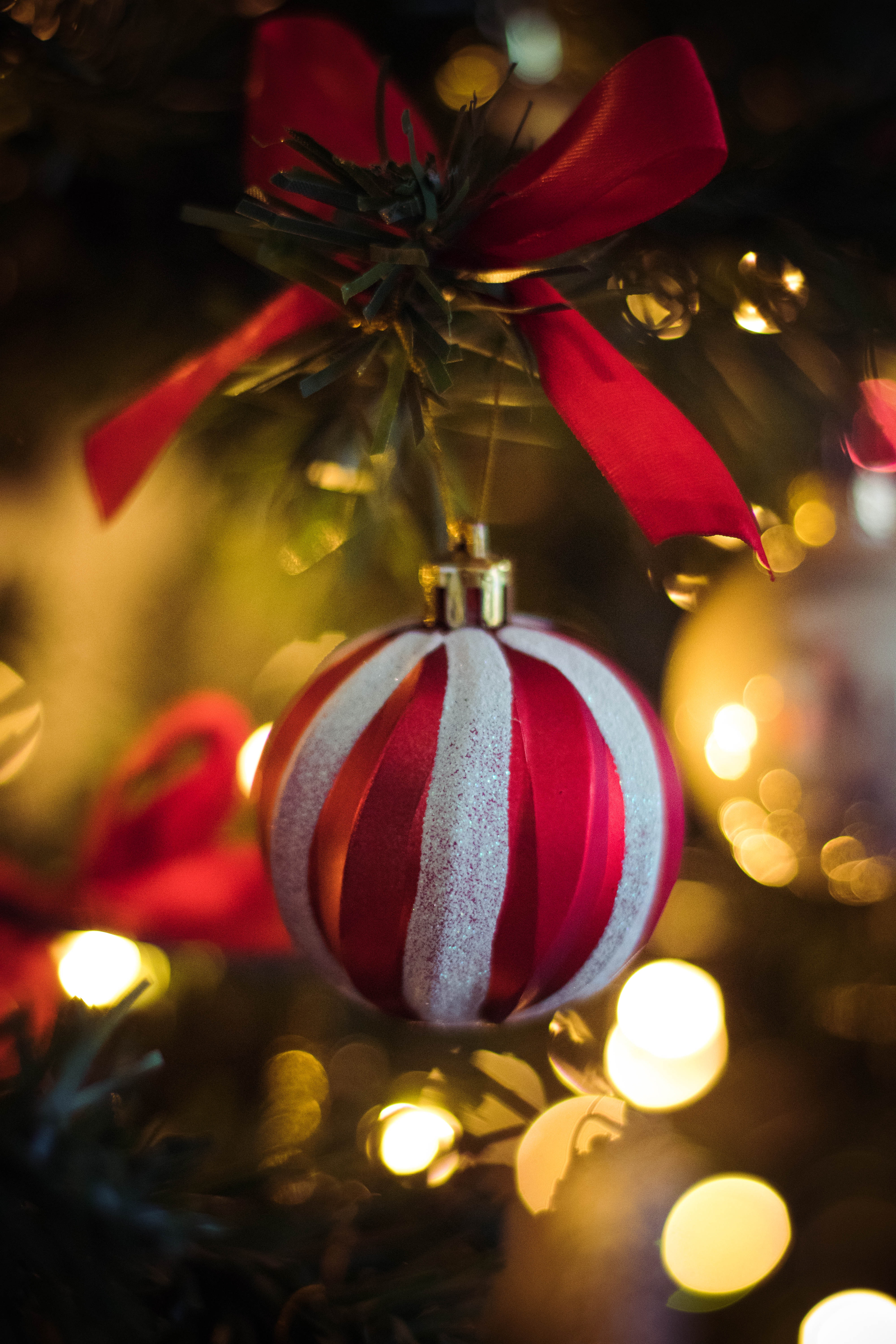Red and White Stripe Christmas Bauble Hanging on Christmas Tree, Ball, Golden, Thread, Sphere, HQ Photo