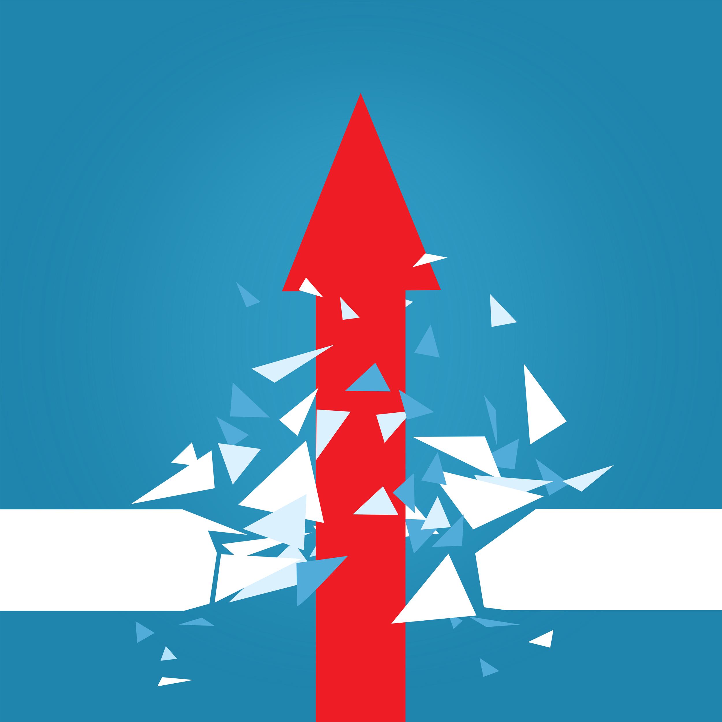 Red arrow blasting through barrier photo
