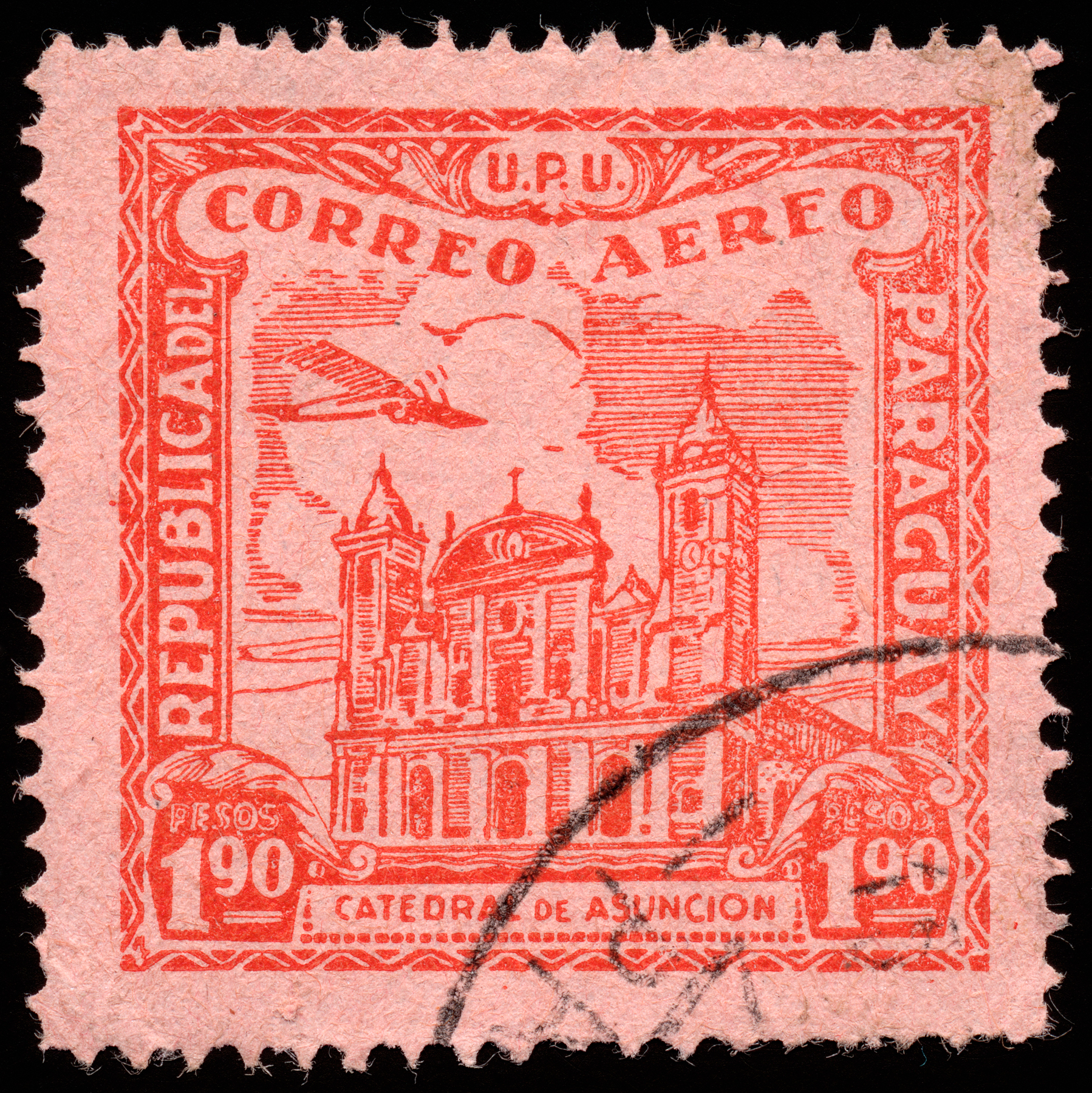 Red asuncion cathedral airmail stamp photo