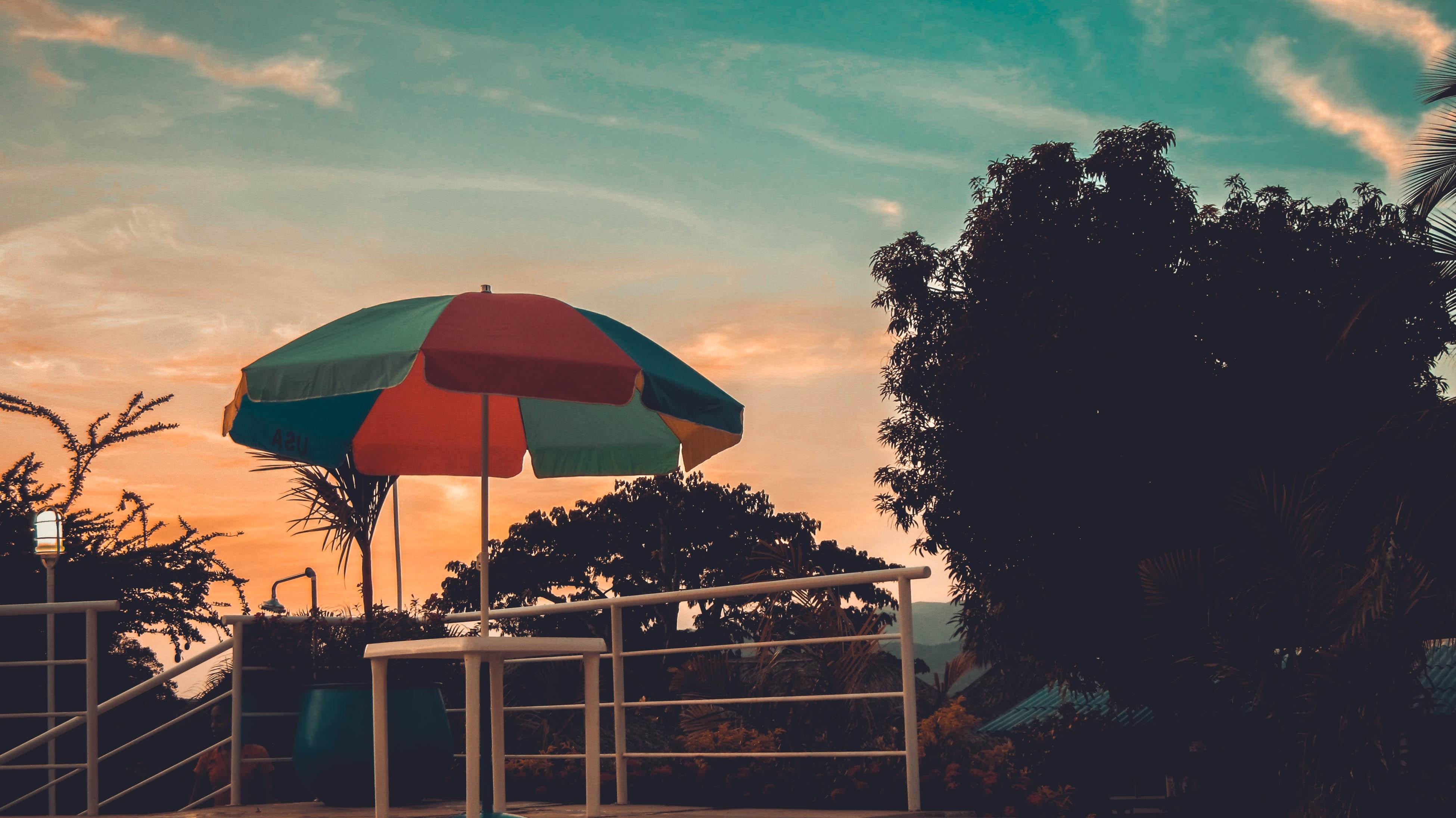 Red, Blue and Green Patio Umbrella, Beach, Scenic, Umbrella, Trees, HQ Photo