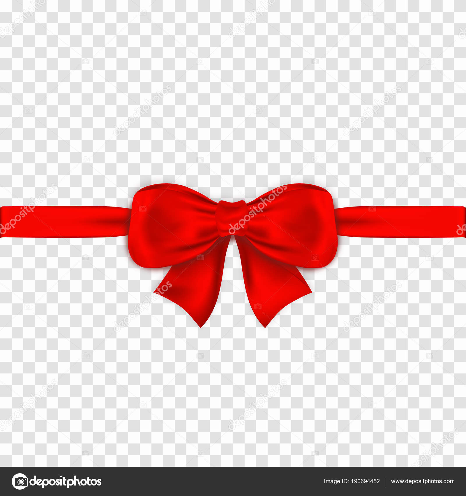 Red bow with ribbons on transparent background. Realistic satin gift ...