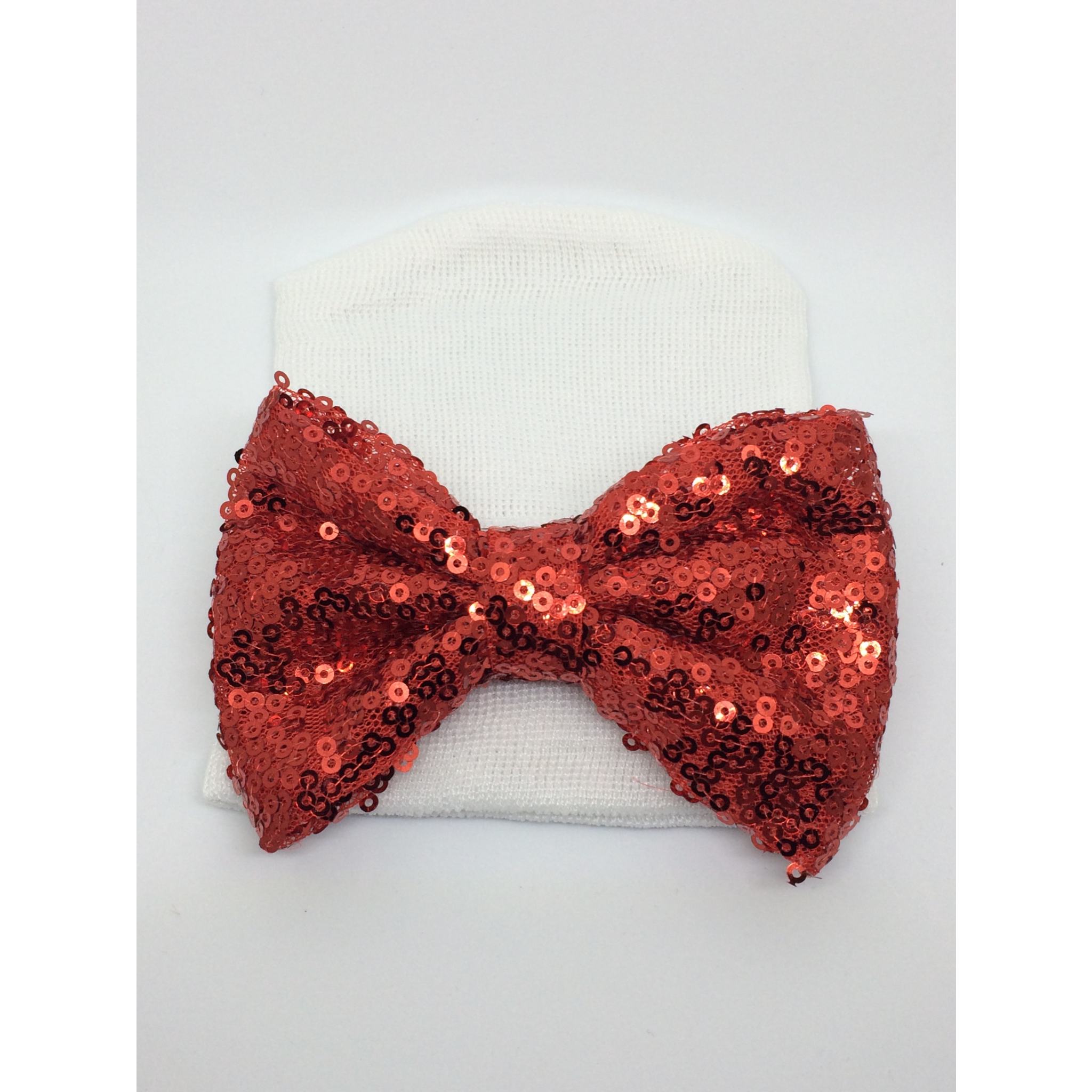 White hat -red bow – BabyGdesigns13