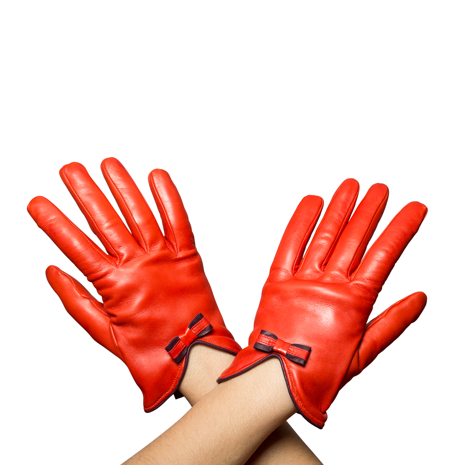 Women's Leather Gloves Orange With Red Bow - Beau Gant