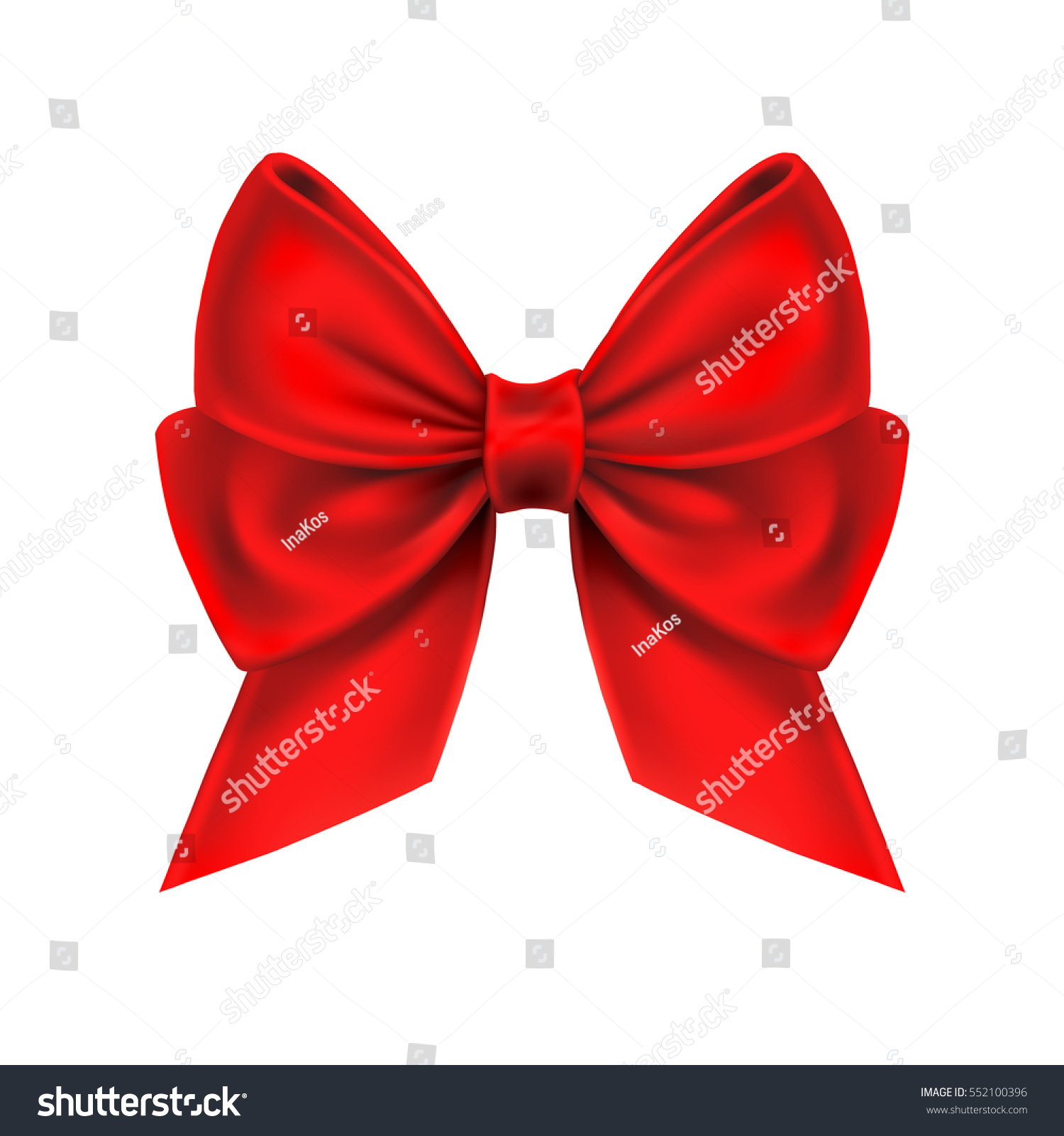 Realistic Red Bow Isolated On White Stock Vector 552100396 ...