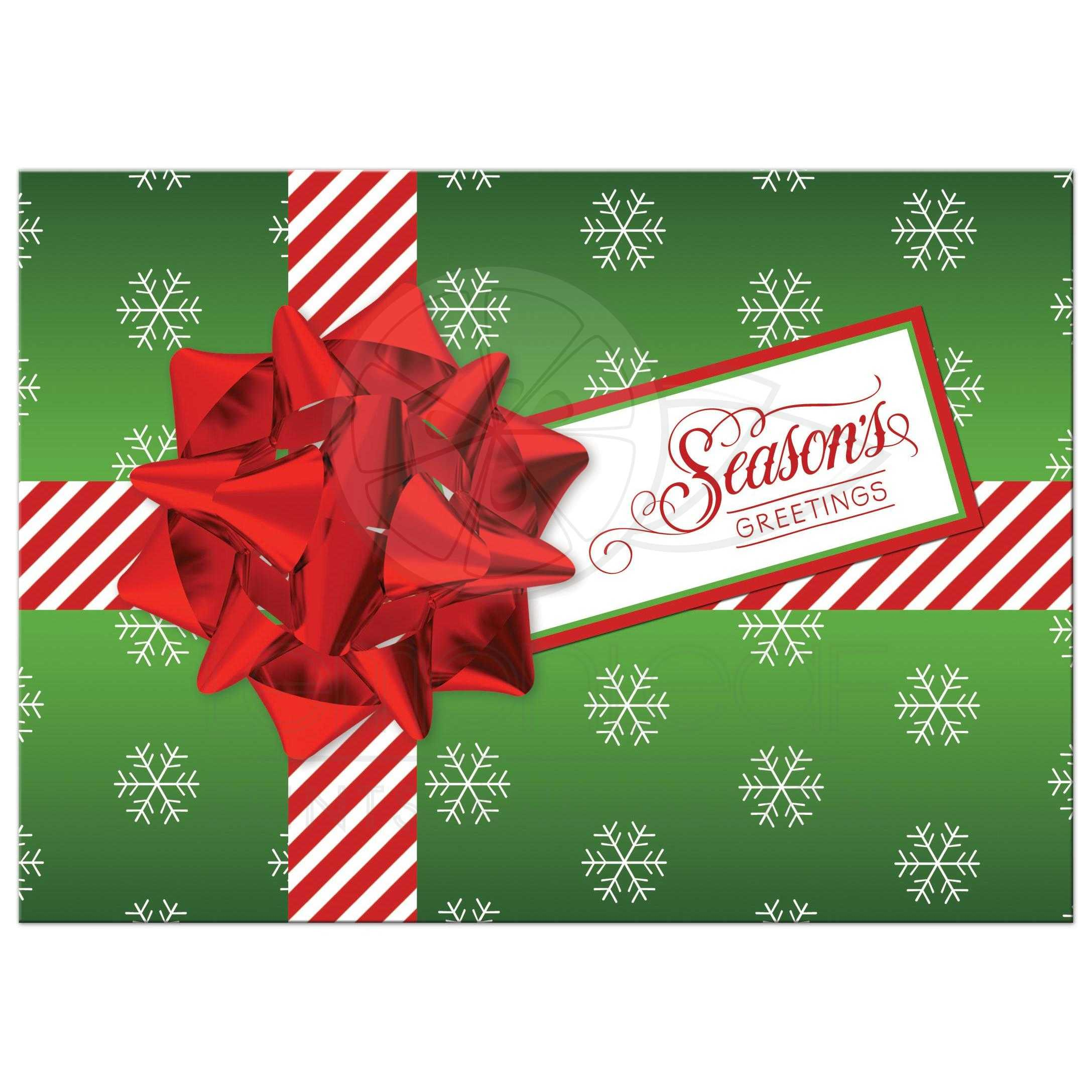 5x7 Flat Season's Greetings Photo Card | Green, White, Red ...