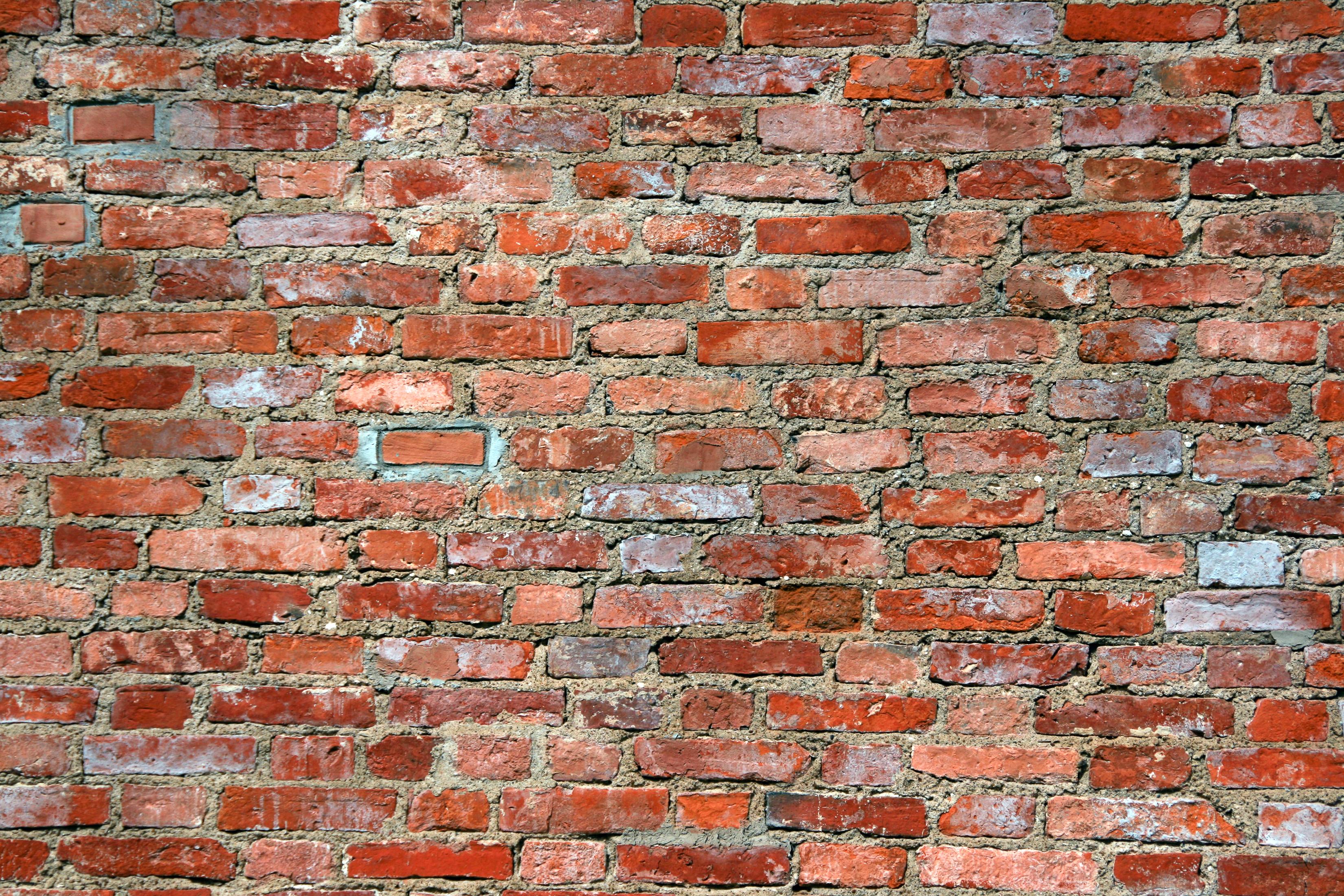 Red brick wall, square, stone, rusty, stonework, HQ Photo