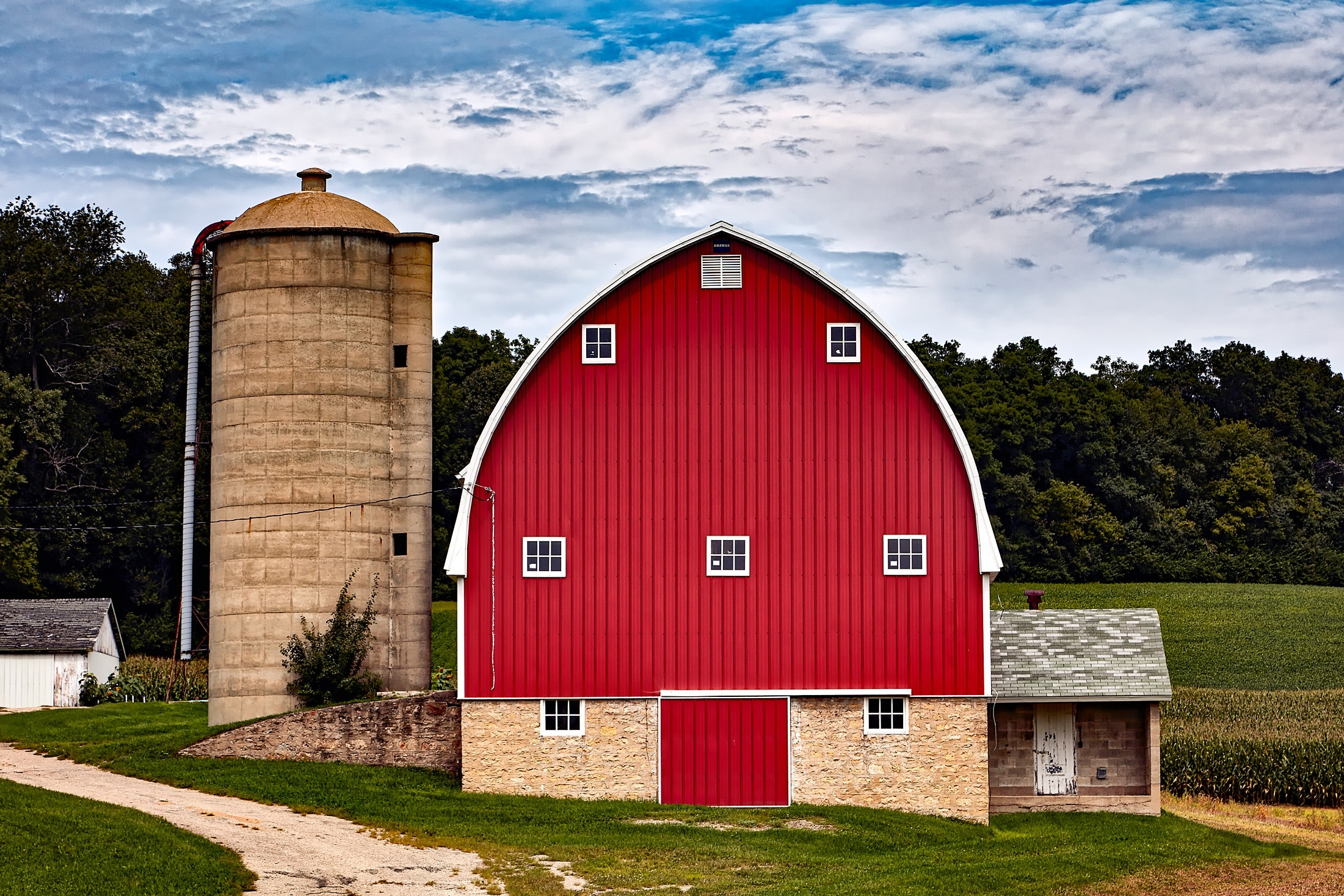 Red Built Structure Against Sky, Agriculture, House, Trees, Silo, HQ Photo